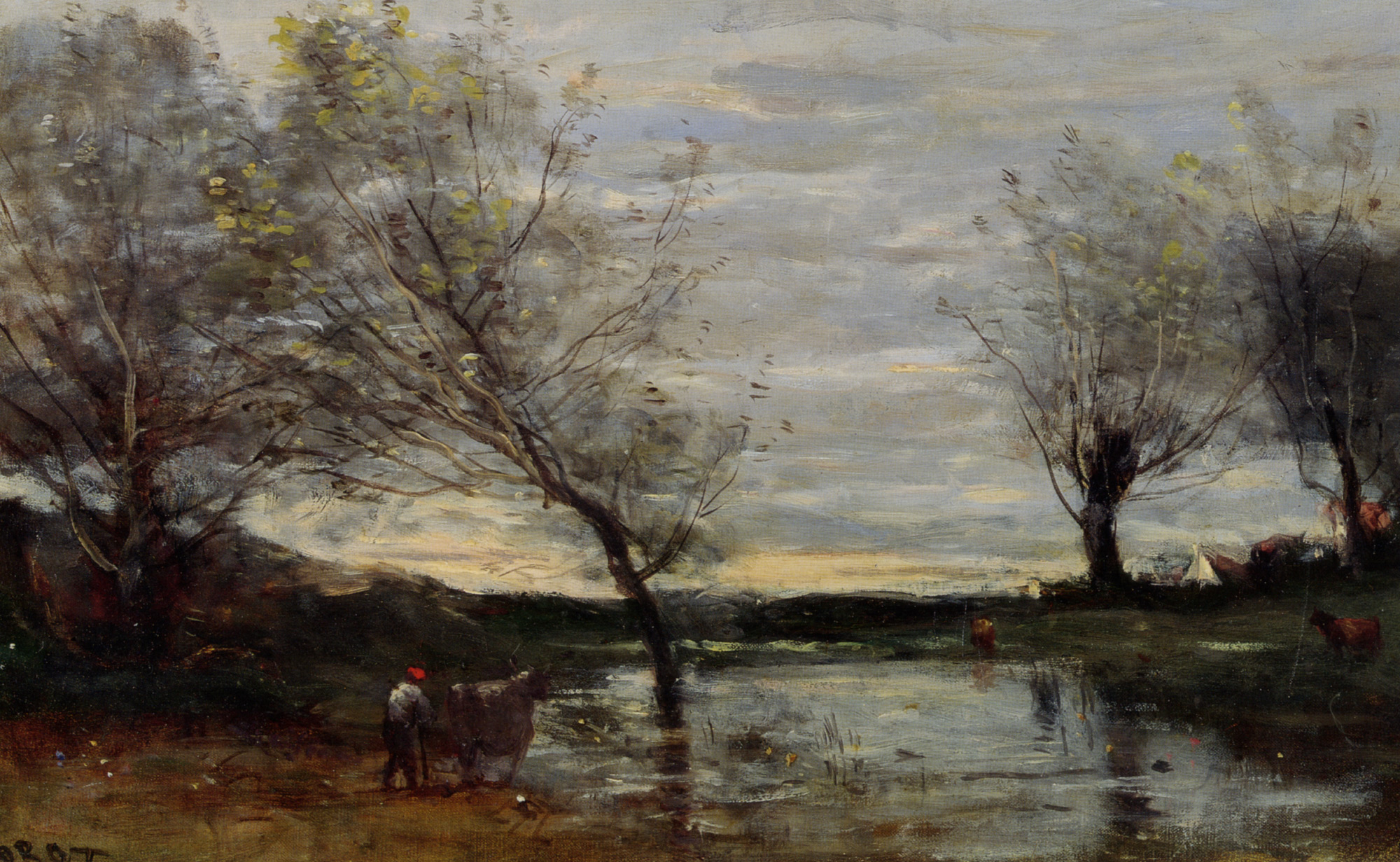Marshy pastures :: Jean-Baptiste-Camille Corot - Landscapes with cows ôîòî