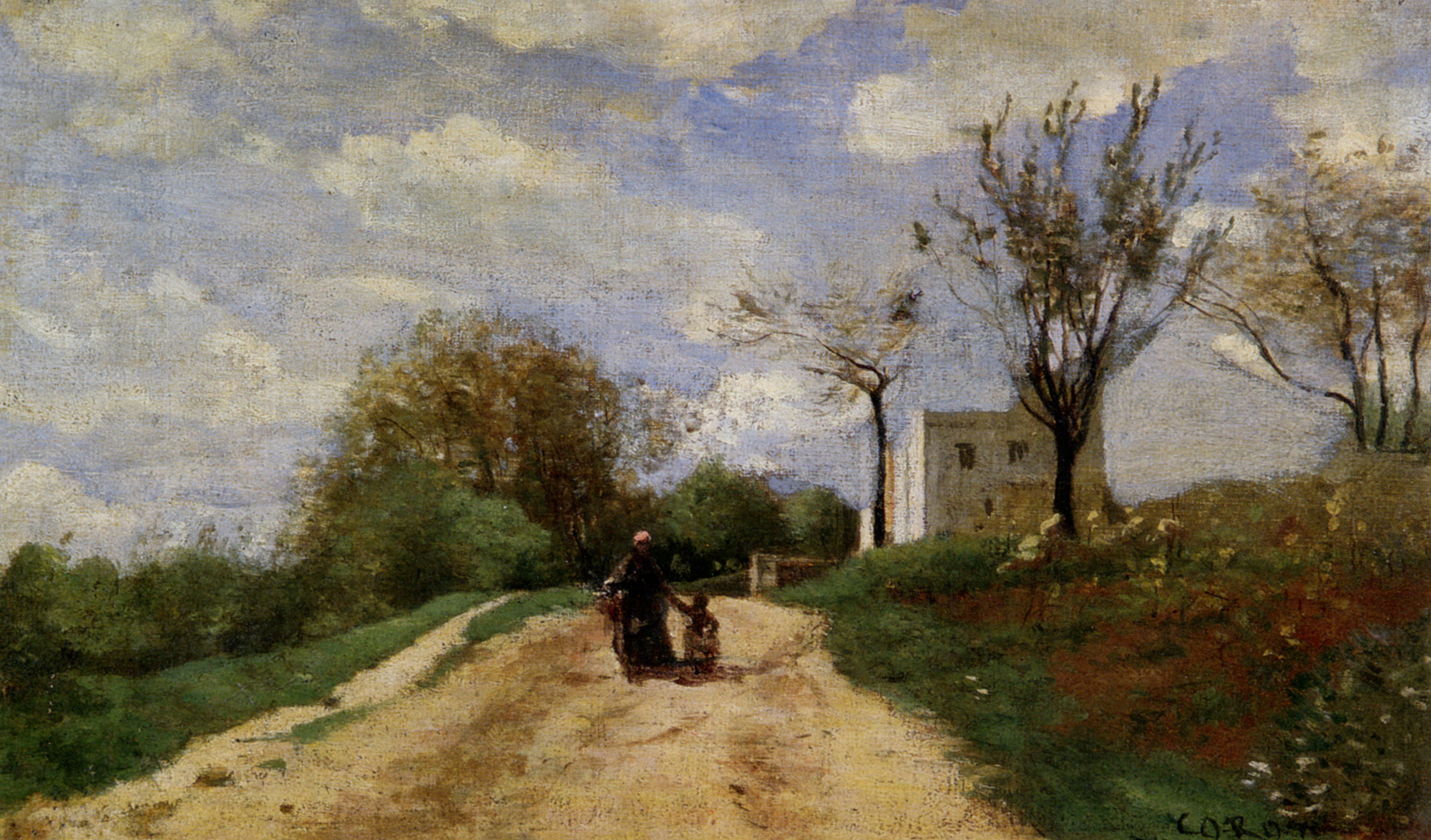 The Path Leading to the House :: Jean-Baptiste-Camille Corot - Summer landscapes and gardens ôîòî