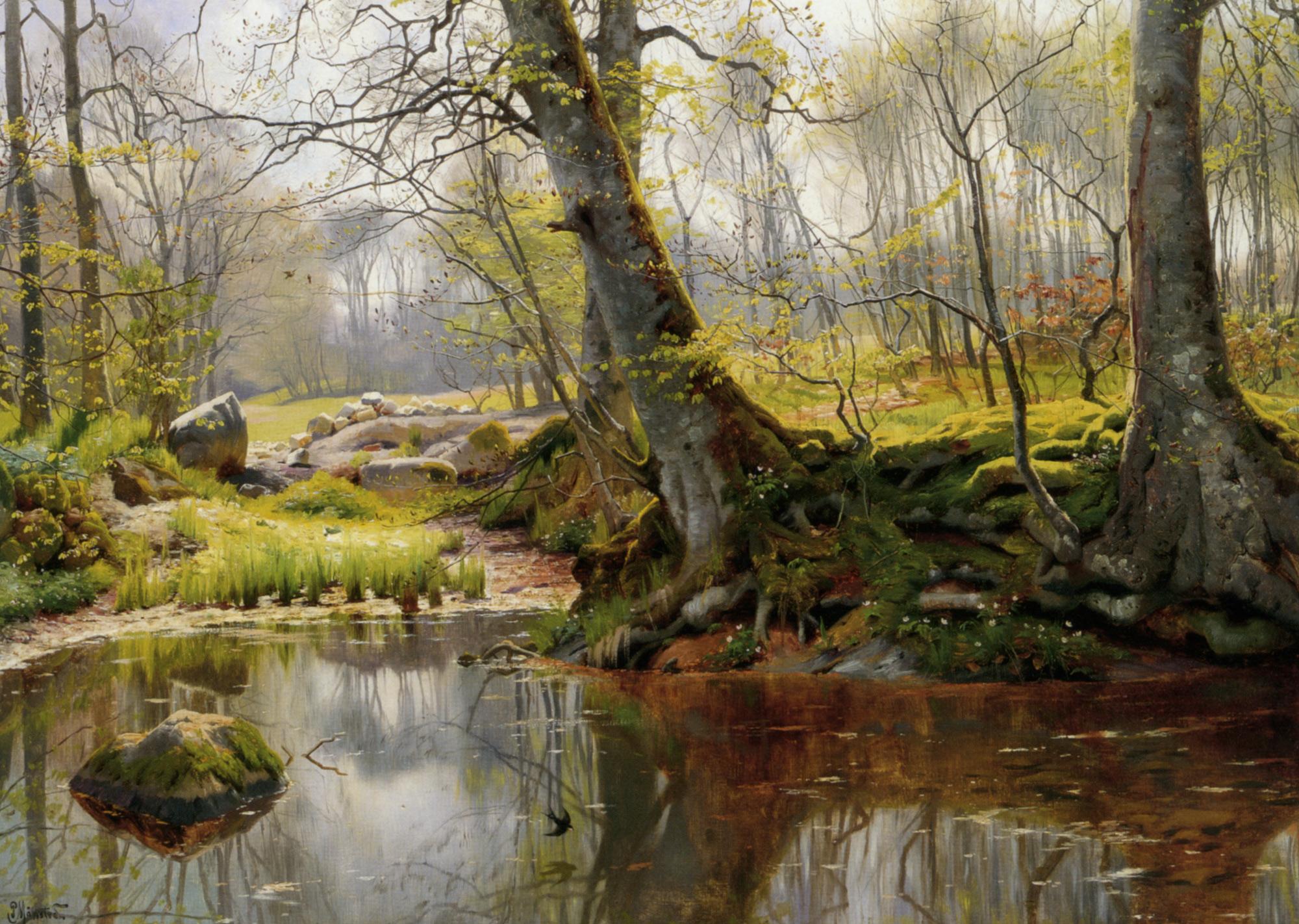 A Tranquil Pond :: Peder Mork Monsted - Forest landscapes ôîòî