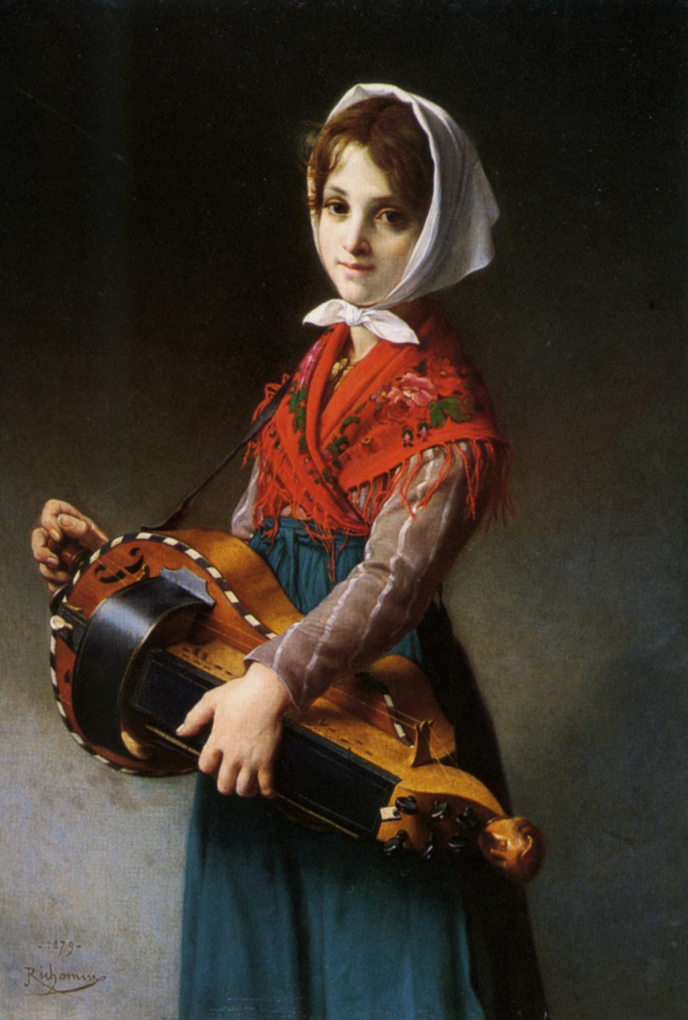 The Hurdy Gurdy Girl :: Jules Richomme - Portraits of young girls in art and painting ôîòî