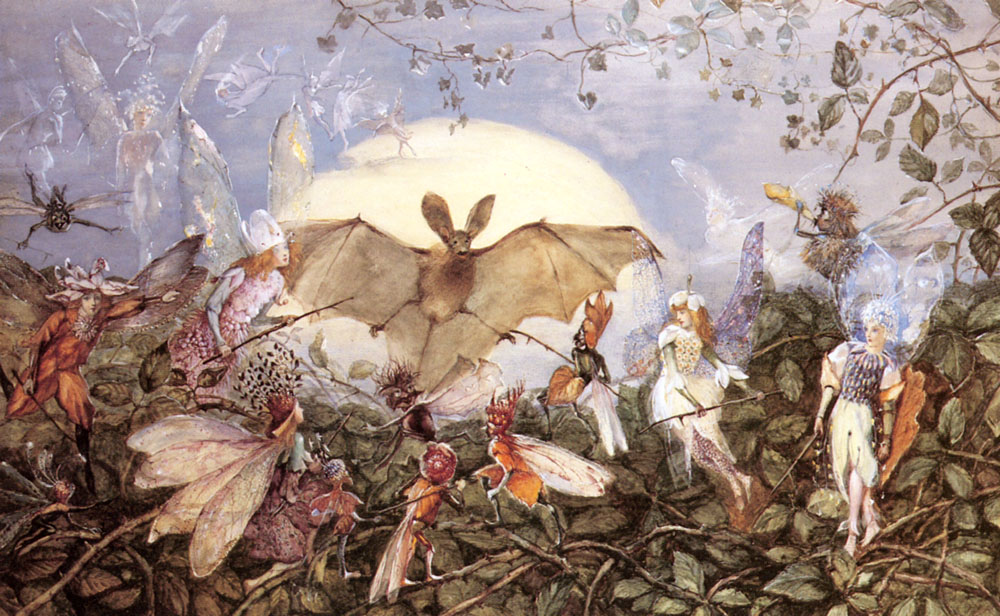 Fairy Hordes Attacking A Bat :: John Anster Fitzgerald - Fantasy in art and painting ôîòî