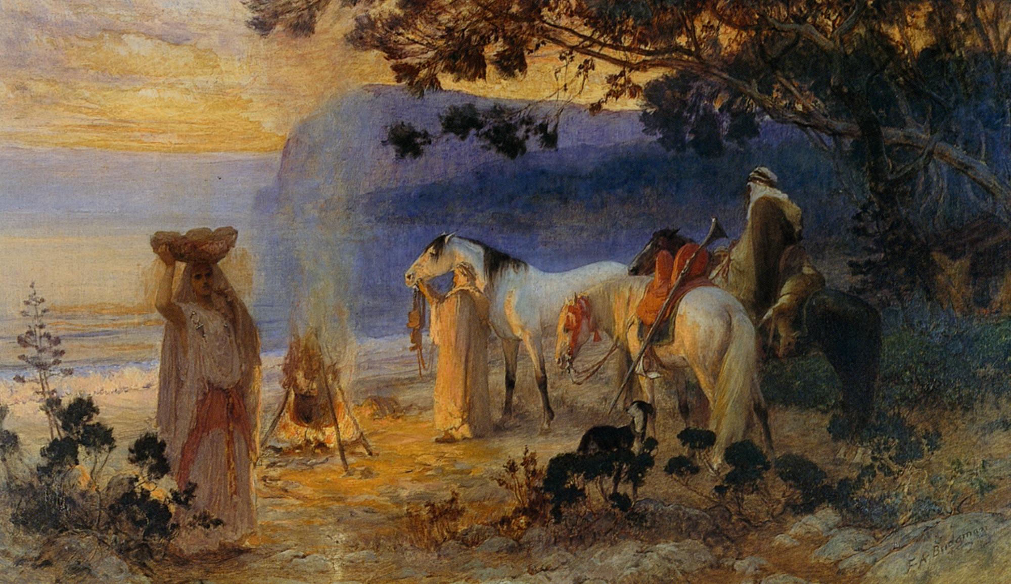 On The Coastline :: Frederick Arthur Bridgman - scenes of Oriental life (Orientalism) in art and painting ôîòî
