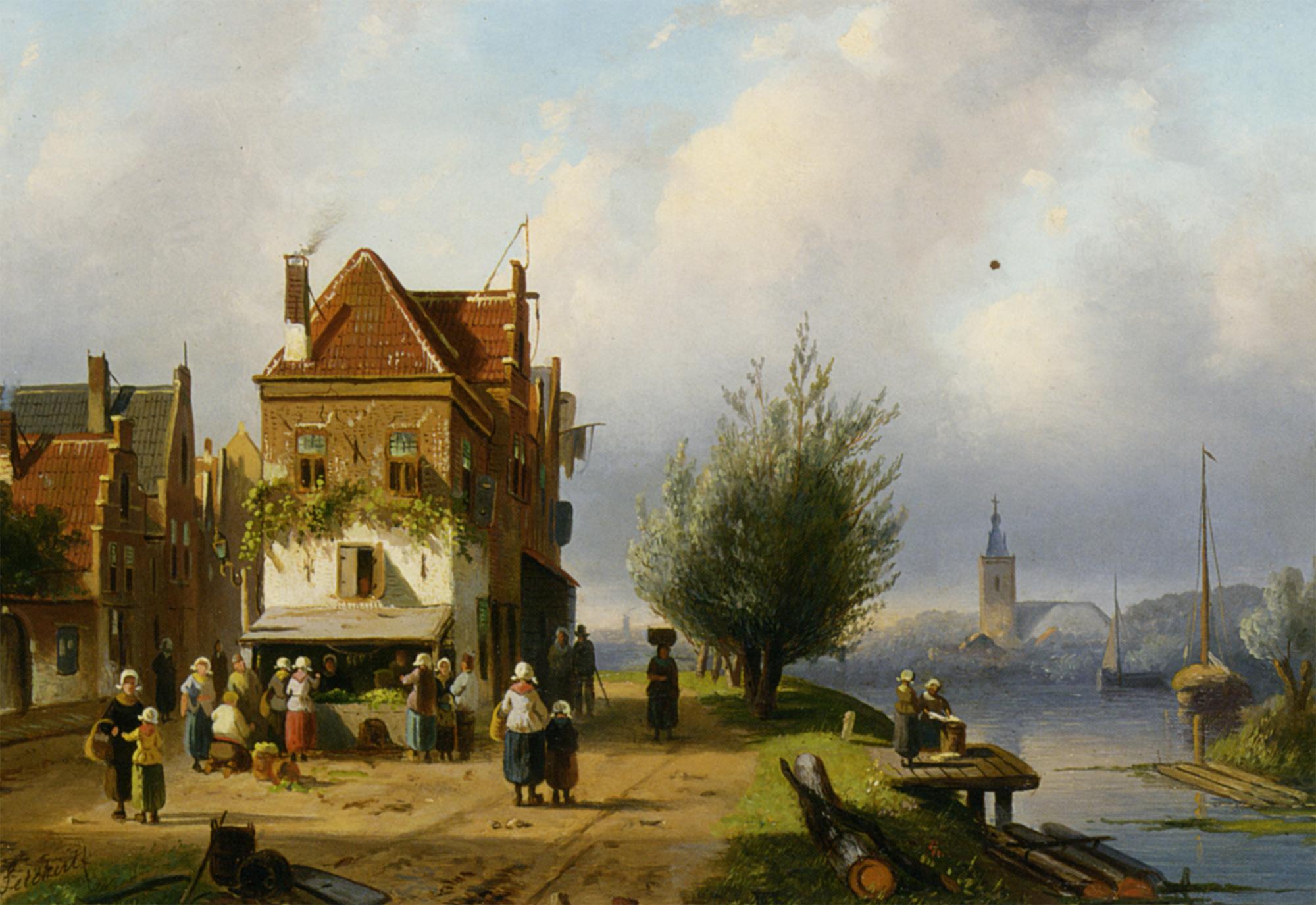 A Town View with Figures by a Market Street Stall :: Charles Henri Joseph Leickert - Holland and Dutch ôîòî