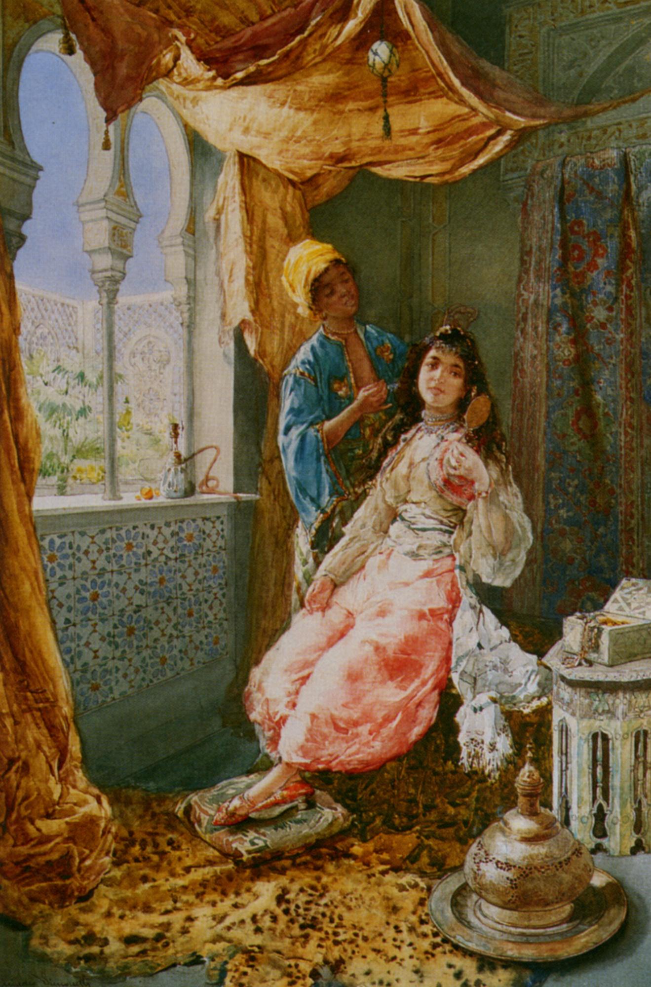 Attending the Princes :: Amedeo Momo Simonetti - Arab women (Harem Life scenes) in art  and painting ôîòî