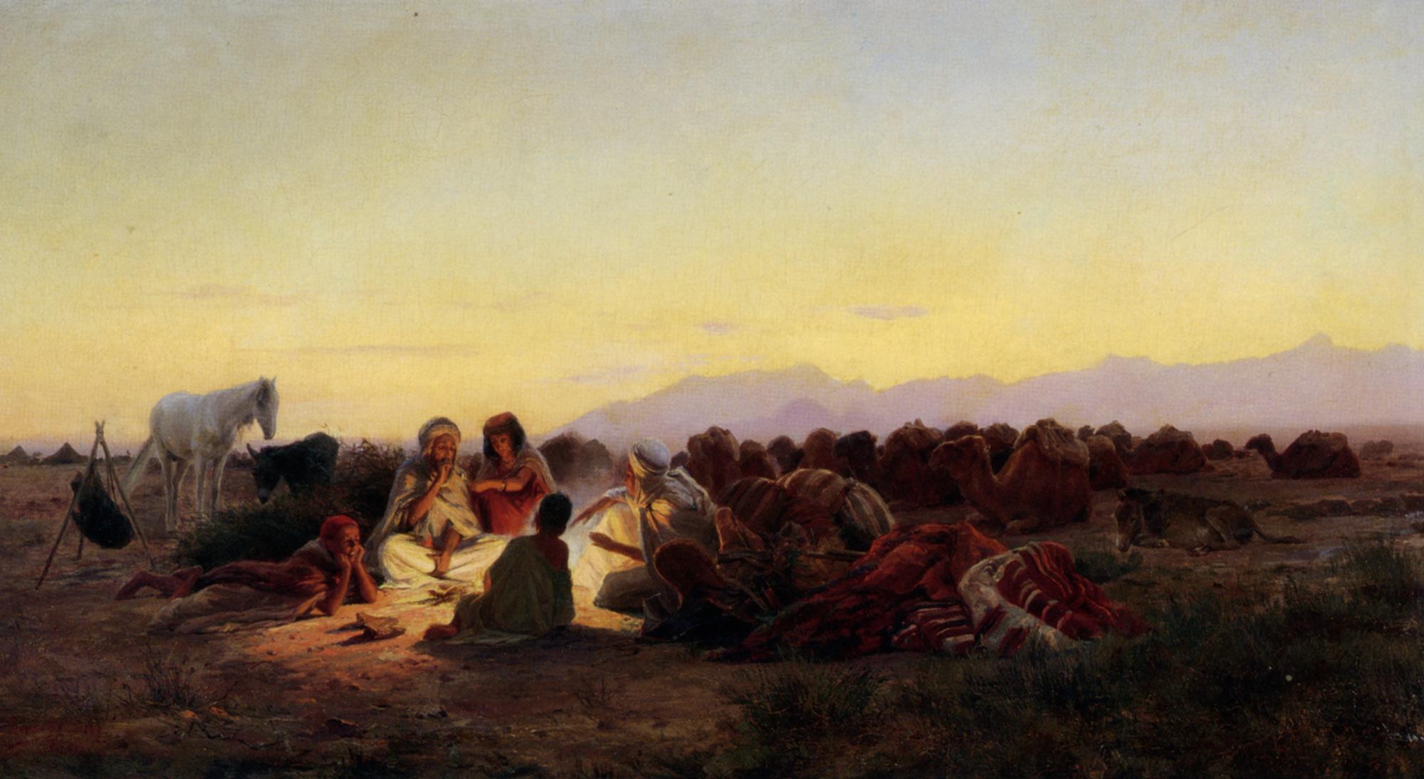 The Encampment :: Eugene-Alexis Girardet - scenes of Oriental life (Orientalism) in art and painting ôîòî