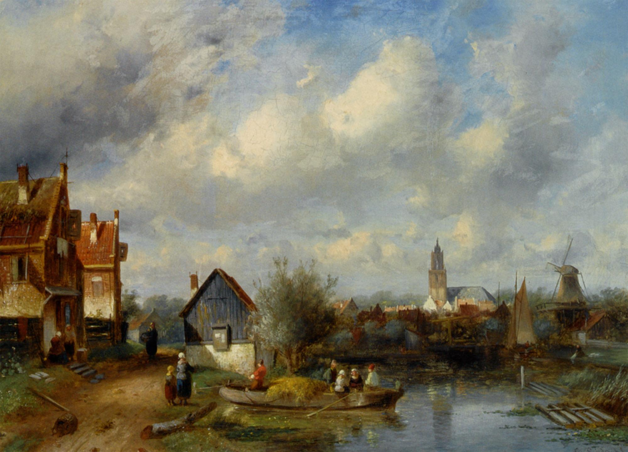 Figures on a Barge Near a Winterside Village :: Charles Henri Joseph Leickert - Holland and Dutch ôîòî