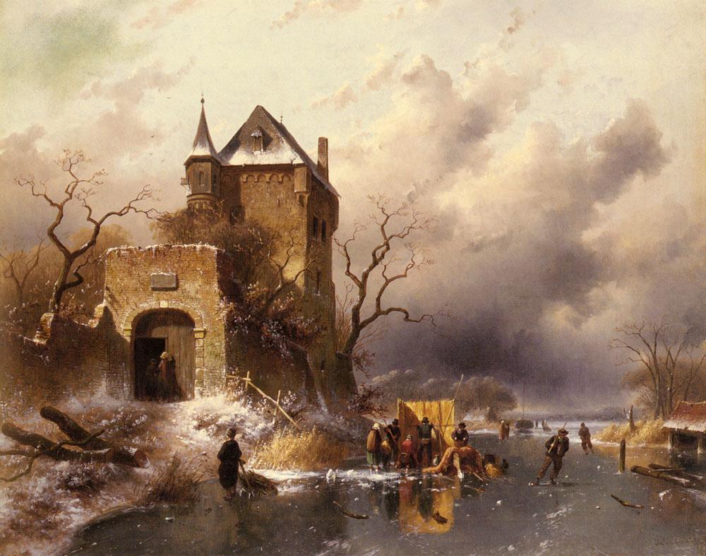 Skaters on a Frozen Lake by the Ruins of a Castle :: Charles Henri Joseph Leickert - winter landscapes ôîòî