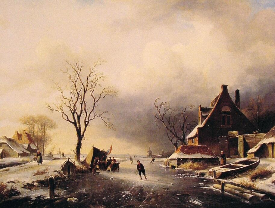Winter Scene with Skaters :: Charles Henri Joseph Leickert - winter landscapes ôîòî