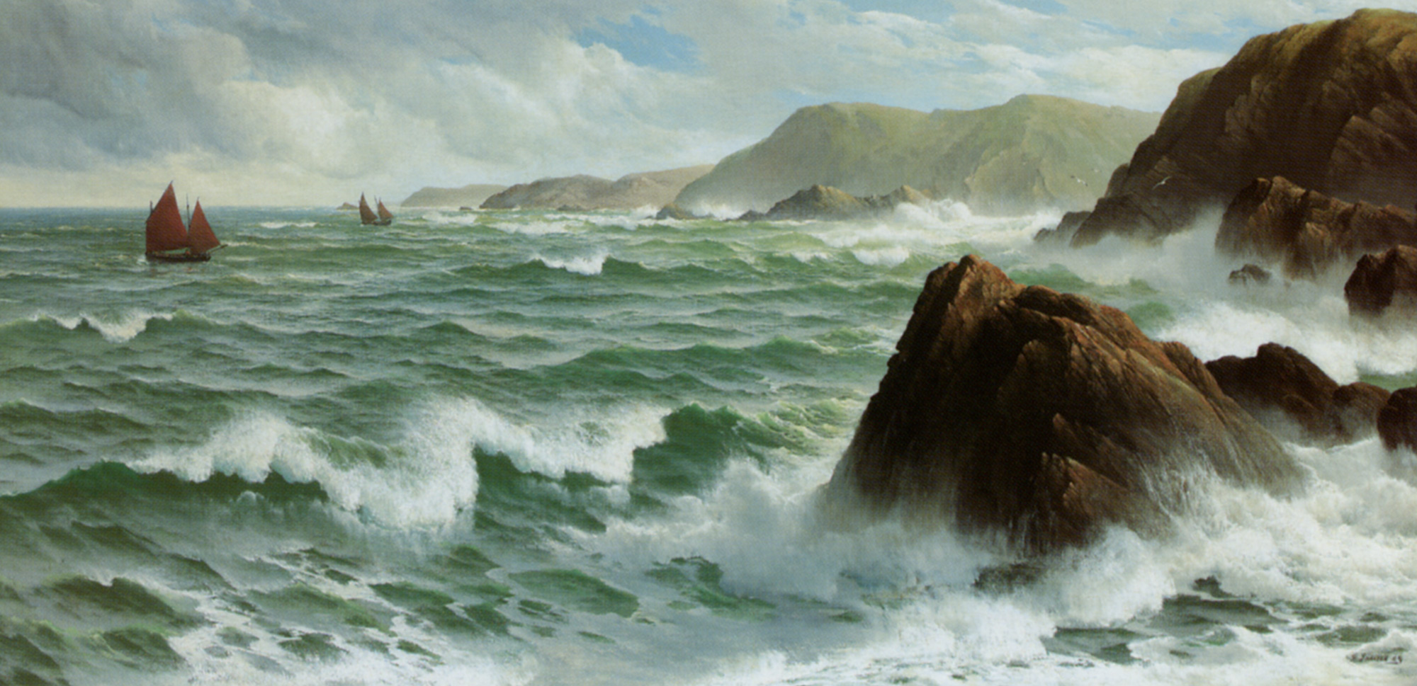 A North Easter Coast of Devon :: David James - Sea landscapes with ships ôîòî
