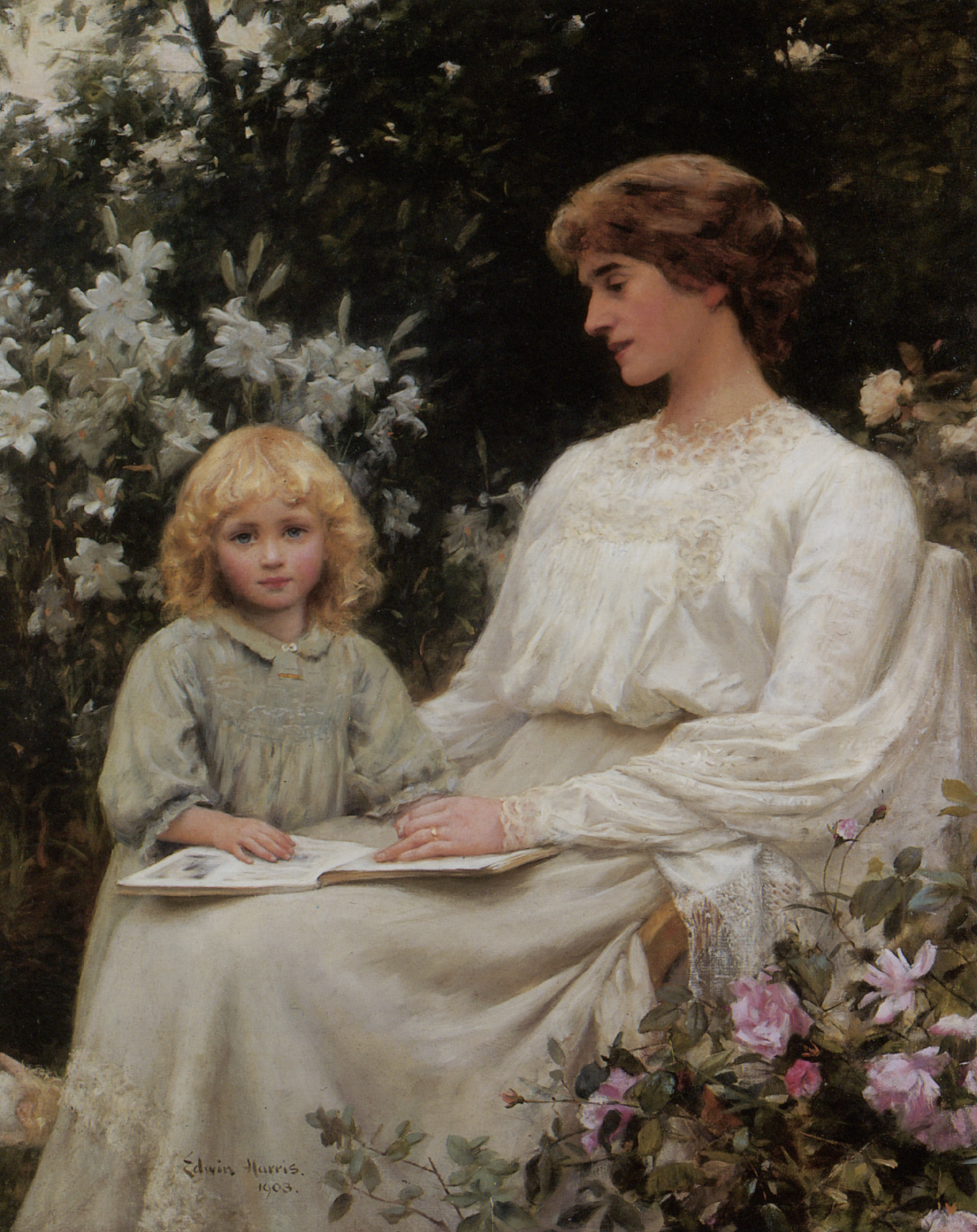 Portrait of a mother and daughter reading a book :: Edwin Harris - Woman and child in painting and art ôîòî