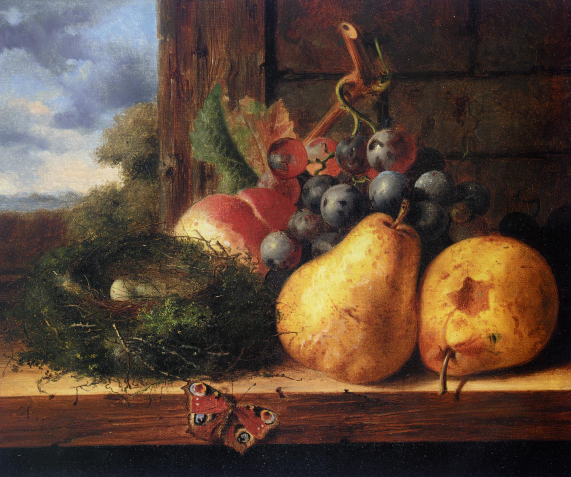 Still life with a birds nest and fruit :: Edward Ladell - Still-lives with fruit ôîòî