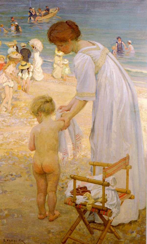 The Bathing Hour :: Emanuel Phillips Fox - Woman and child in painting and art ôîòî