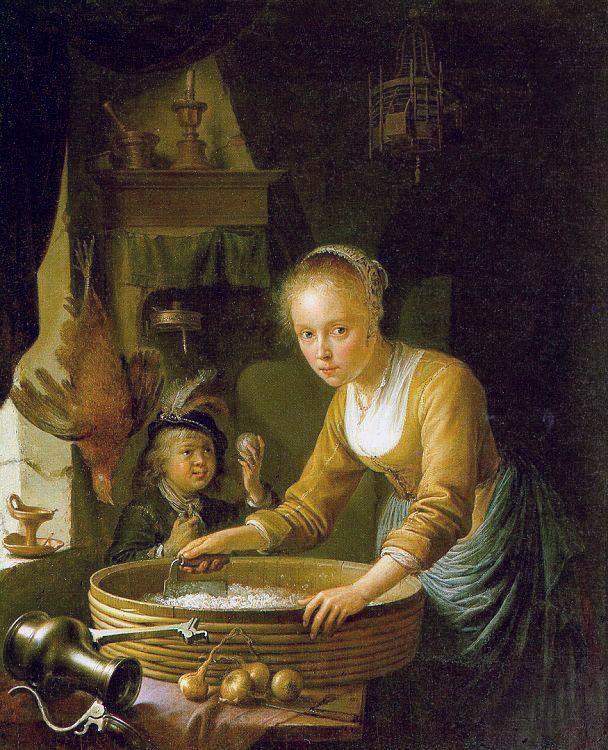 Girl Chopping Onions :: Gerrit Dou  - Woman and child in painting and art ôîòî