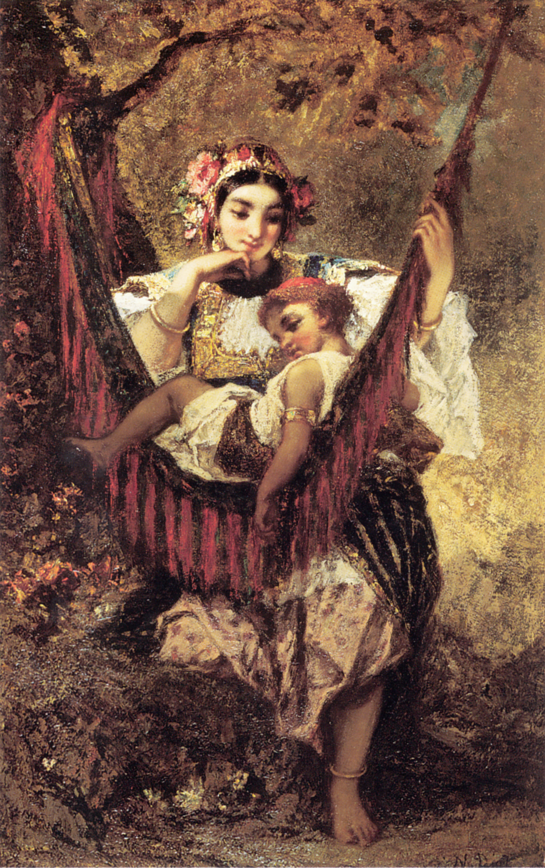 Mother and Child :: Narcisse-Virgile Dнaz de la Peсa - Woman and child in painting and art ôîòî