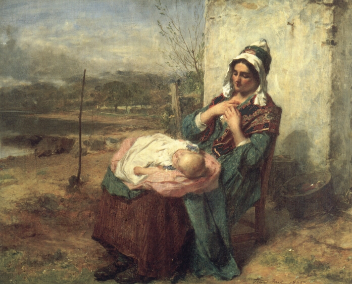 Ere Care Begins :: Thomas Faed - Woman and child in painting and art ôîòî