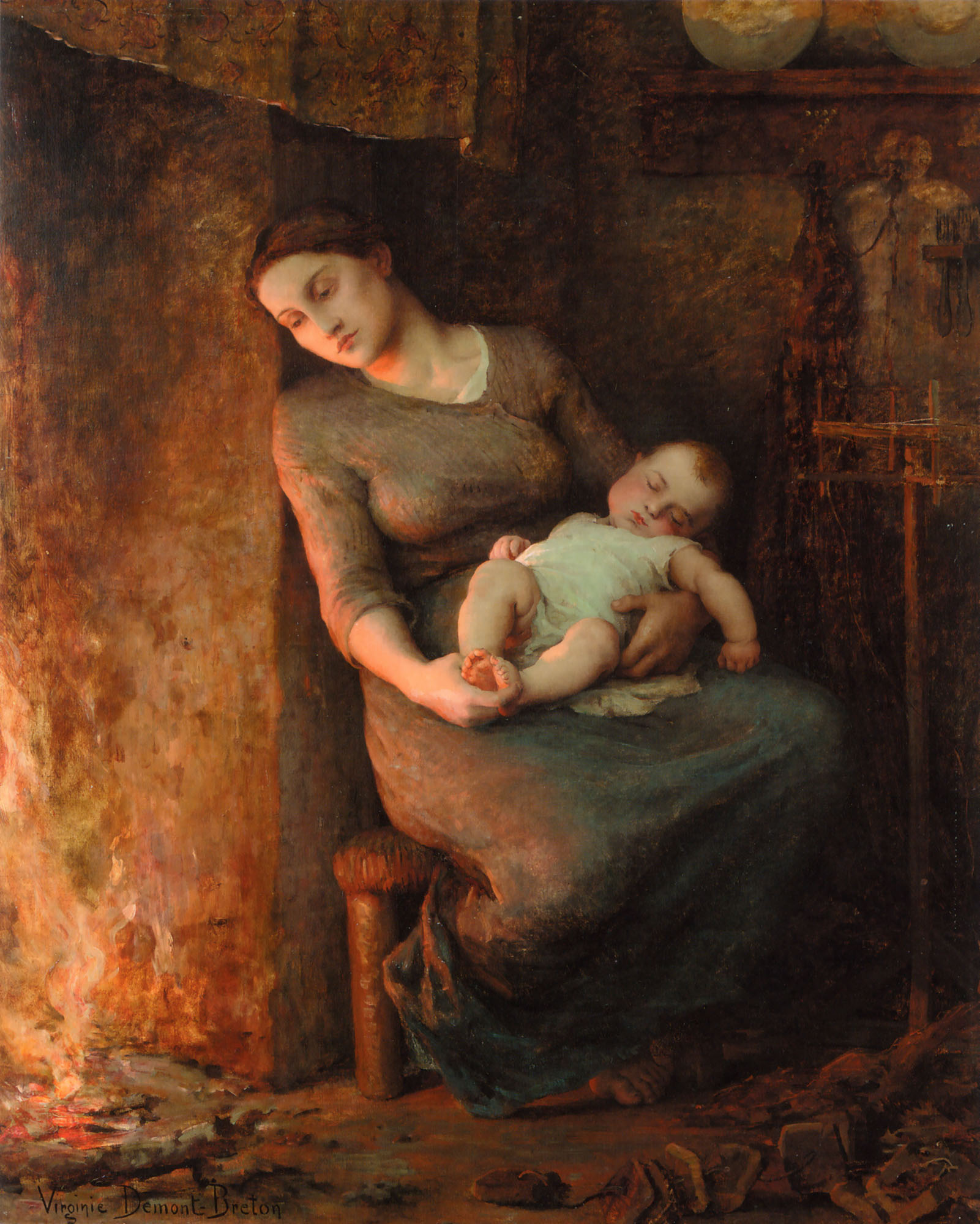 Her husband is at sea :: Virginie Demont-Breton - Woman and child in painting and art ôîòî