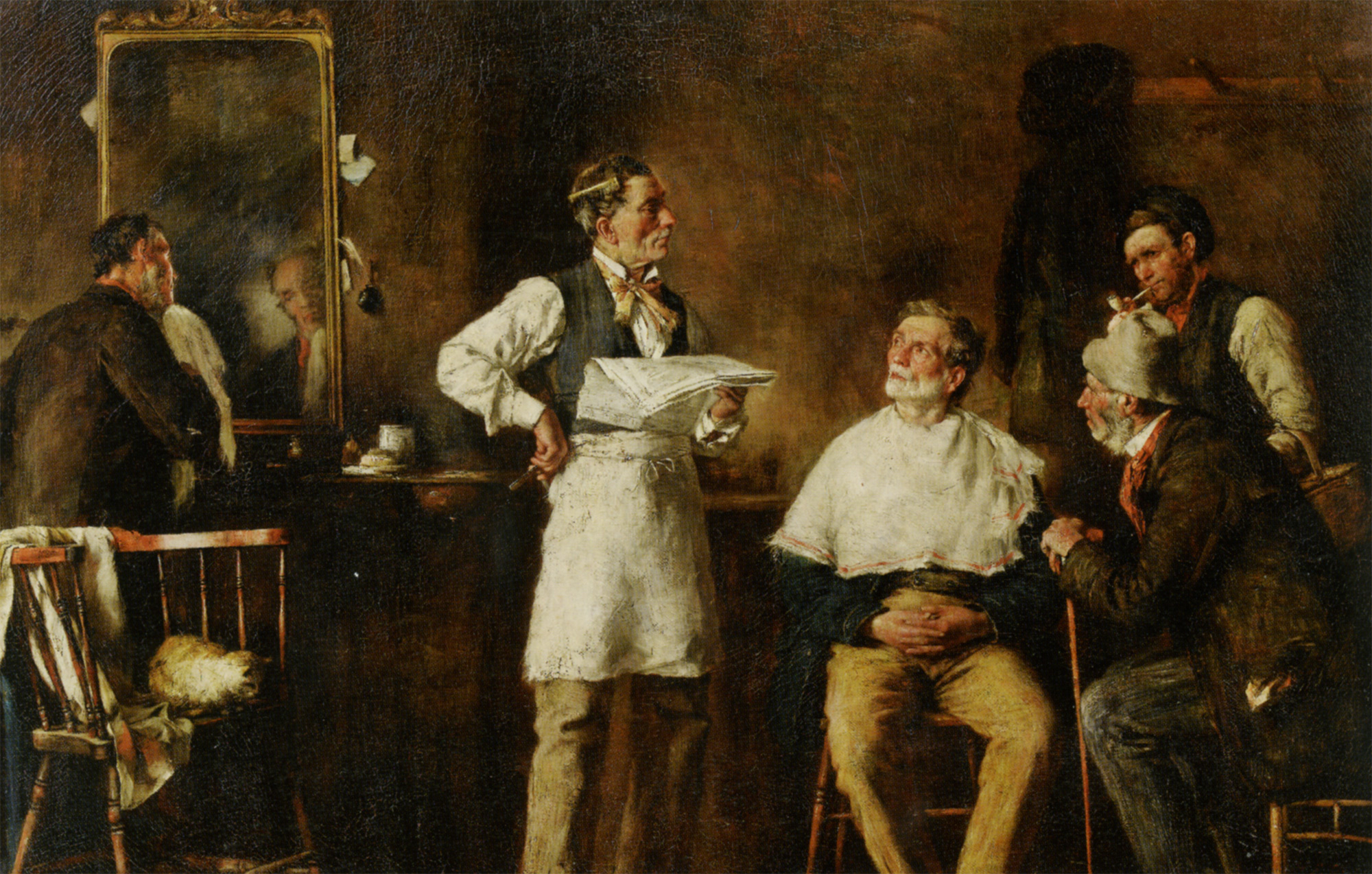 The Barbers Shop :: George Elgar Hicks - Interiors in art and painting ôîòî