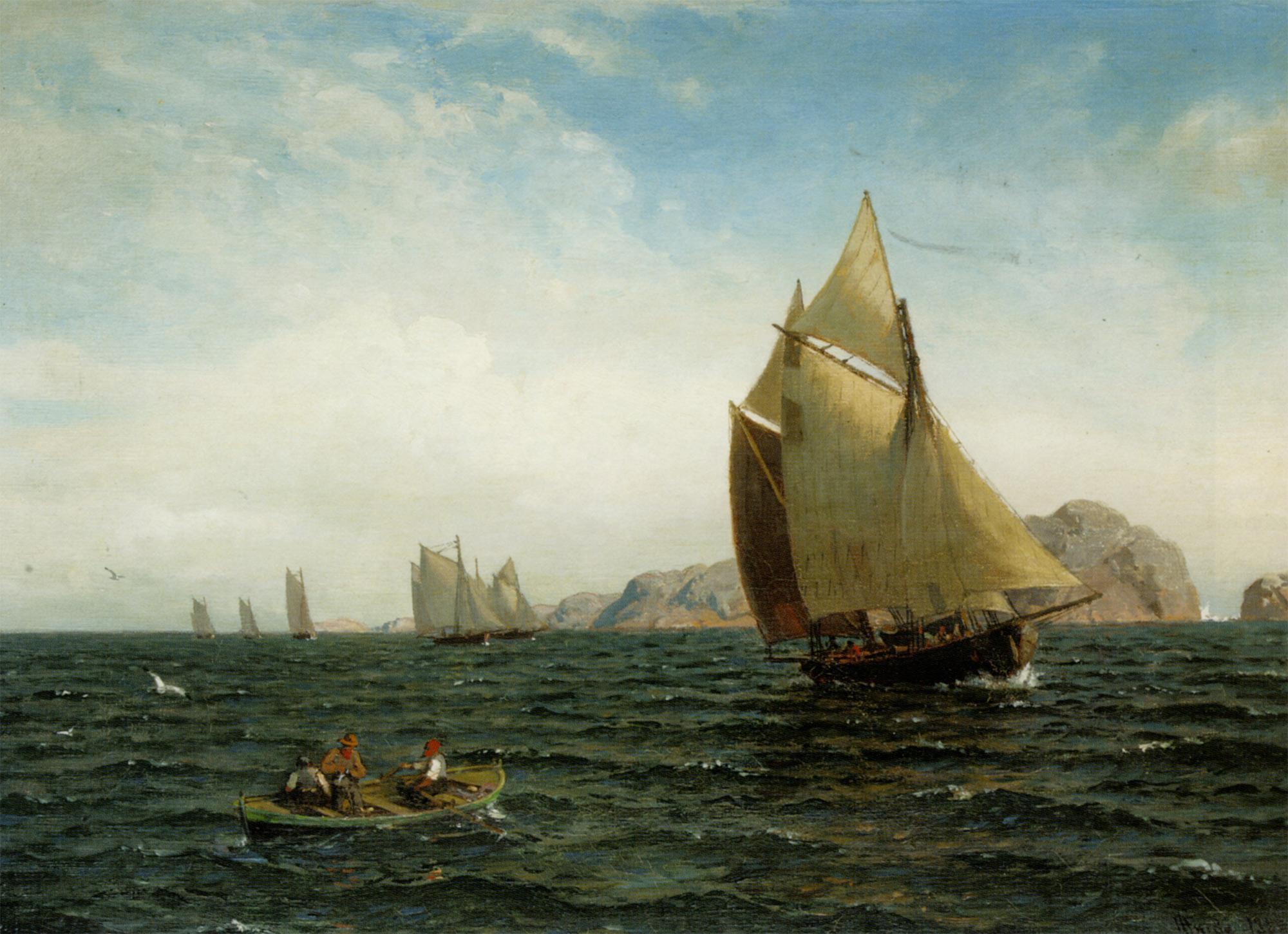 The ships at fjords :: Hans Fredrik Gude - Sea landscapes with ships ôîòî