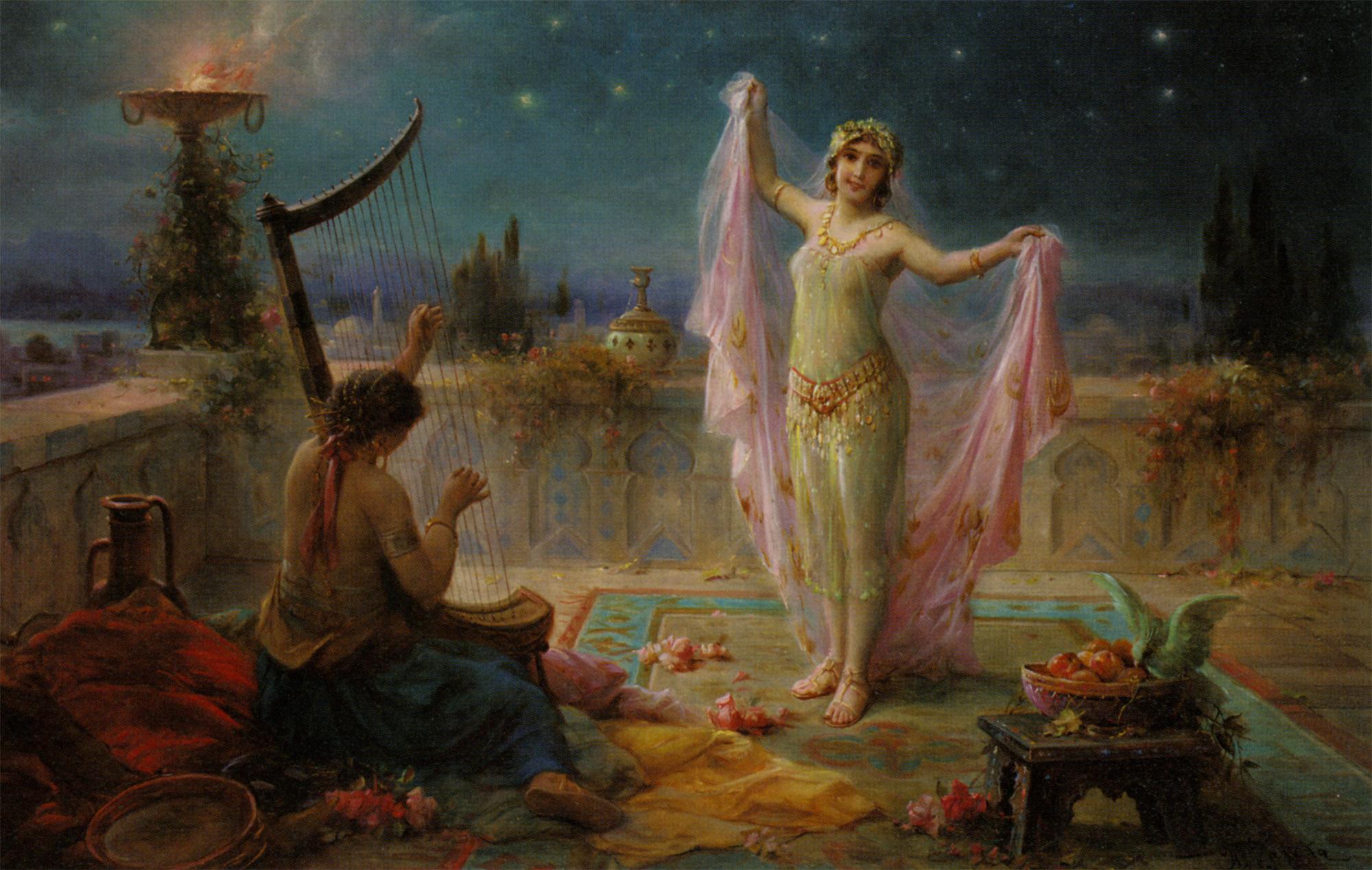Moonlight Serenade :: Hans Zatzka - Arab women (Harem Life scenes) in art  and painting ôîòî