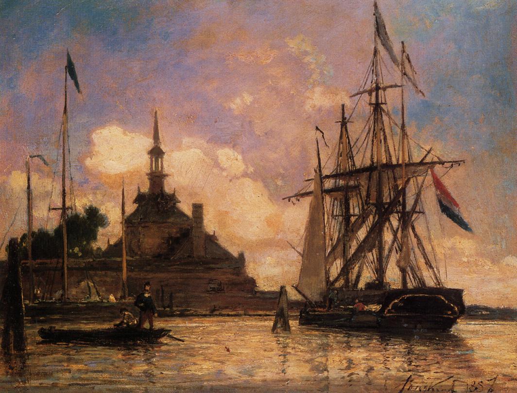 The Port of Rotterdam :: Johan Barthold Jongkind - Sea landscapes with ships ôîòî