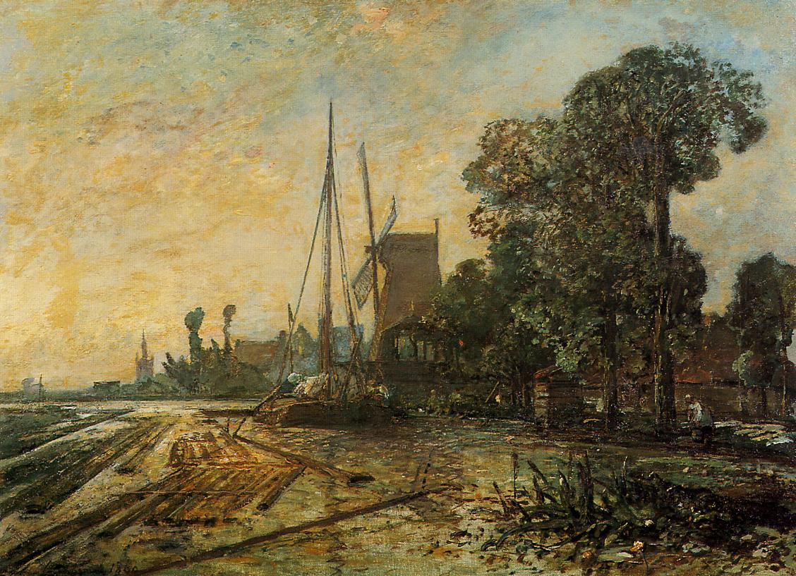 Windmill near the Water :: Johan Barthold Jongkind  - River landscapes ôîòî