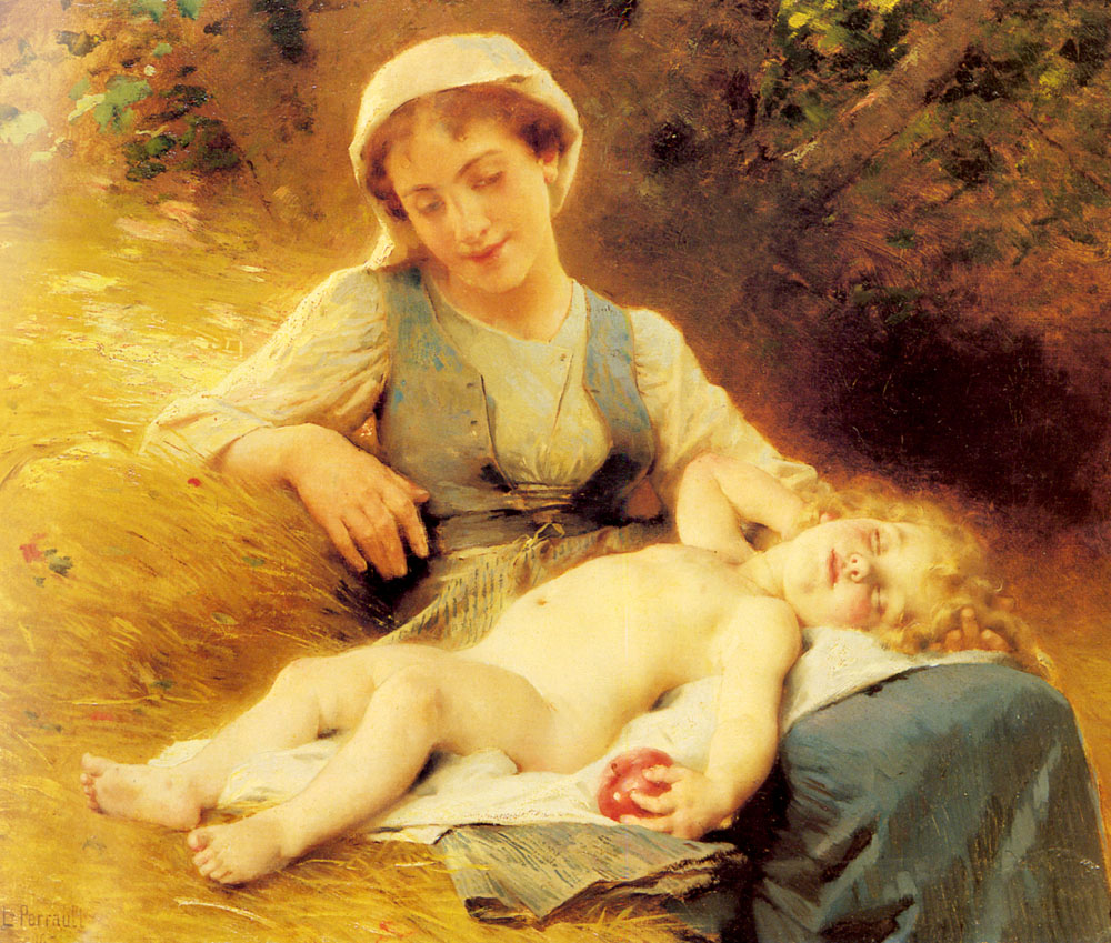 A Mother with her Sleeping Child :: Leon Bazile Perrault - Woman and child in painting and art ôîòî
