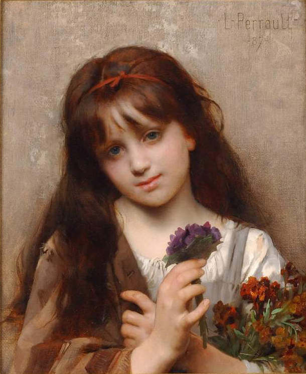 The Flower Vendor :: Leon Bazile Perrault - Portraits of young girls in art and painting ôîòî