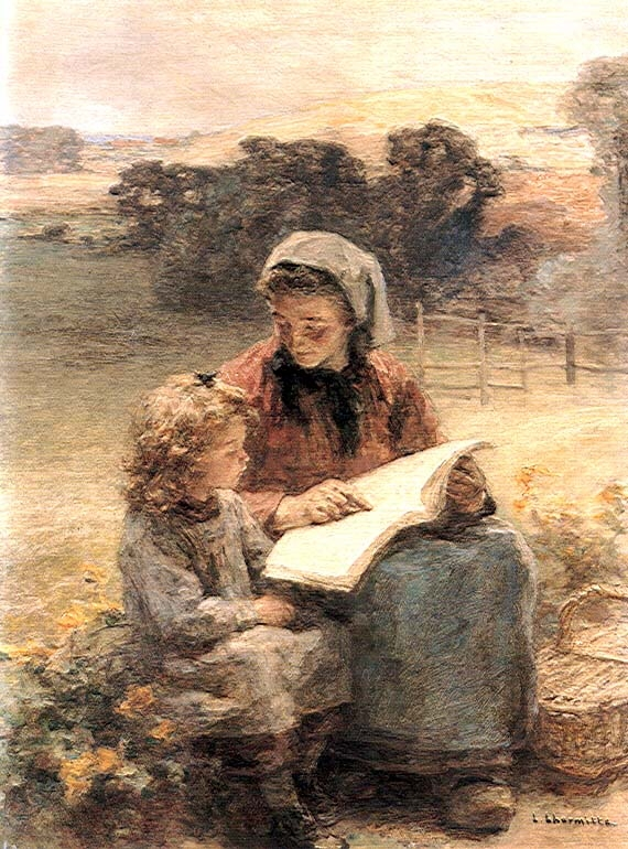 Reading lesson :: Leon-Augustin L'hermitte - Village life ôîòî