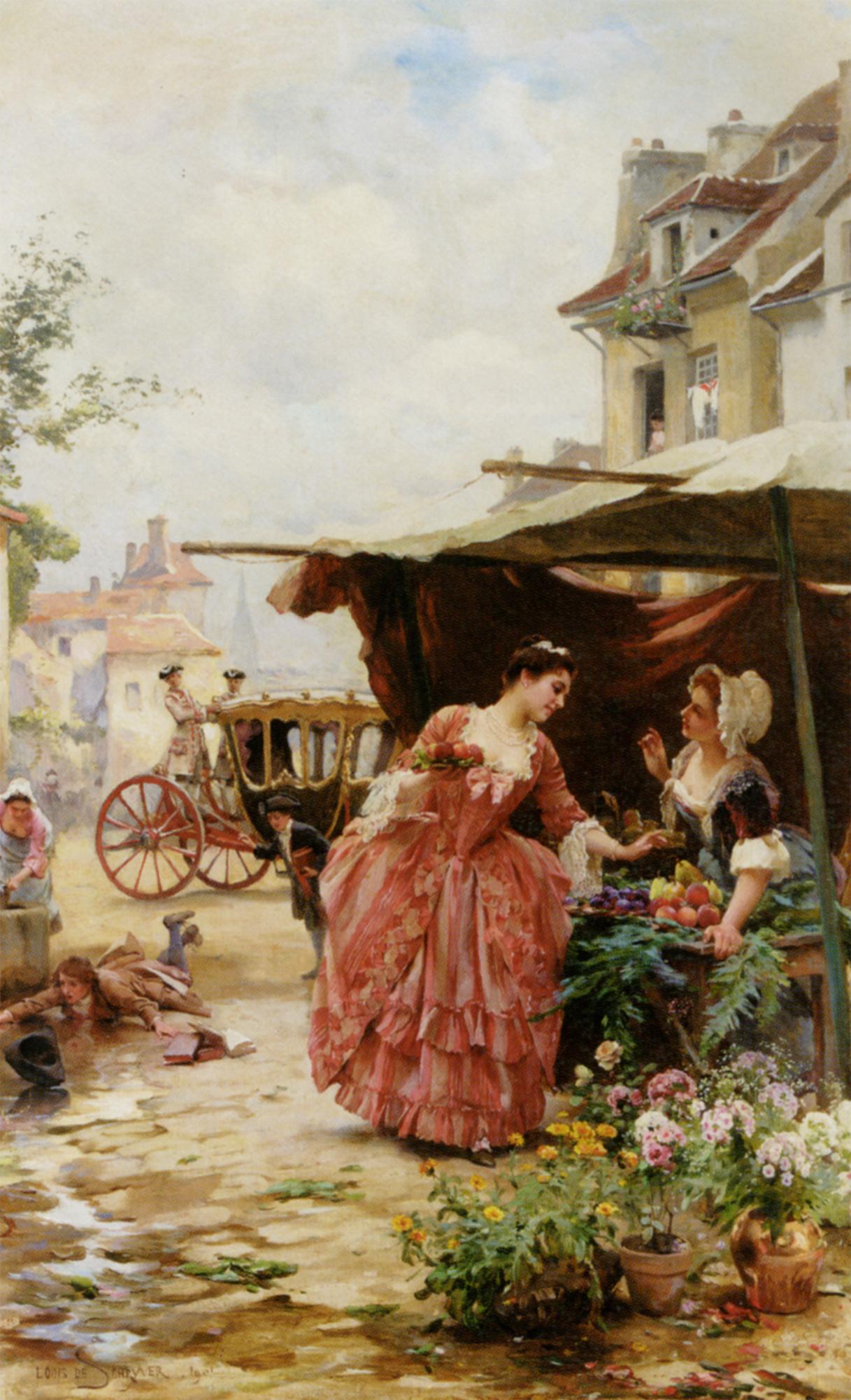 A Merchant Fruit and Flowers :: Louis Marie de Schryver - Romantic scenes in art and painting ôîòî