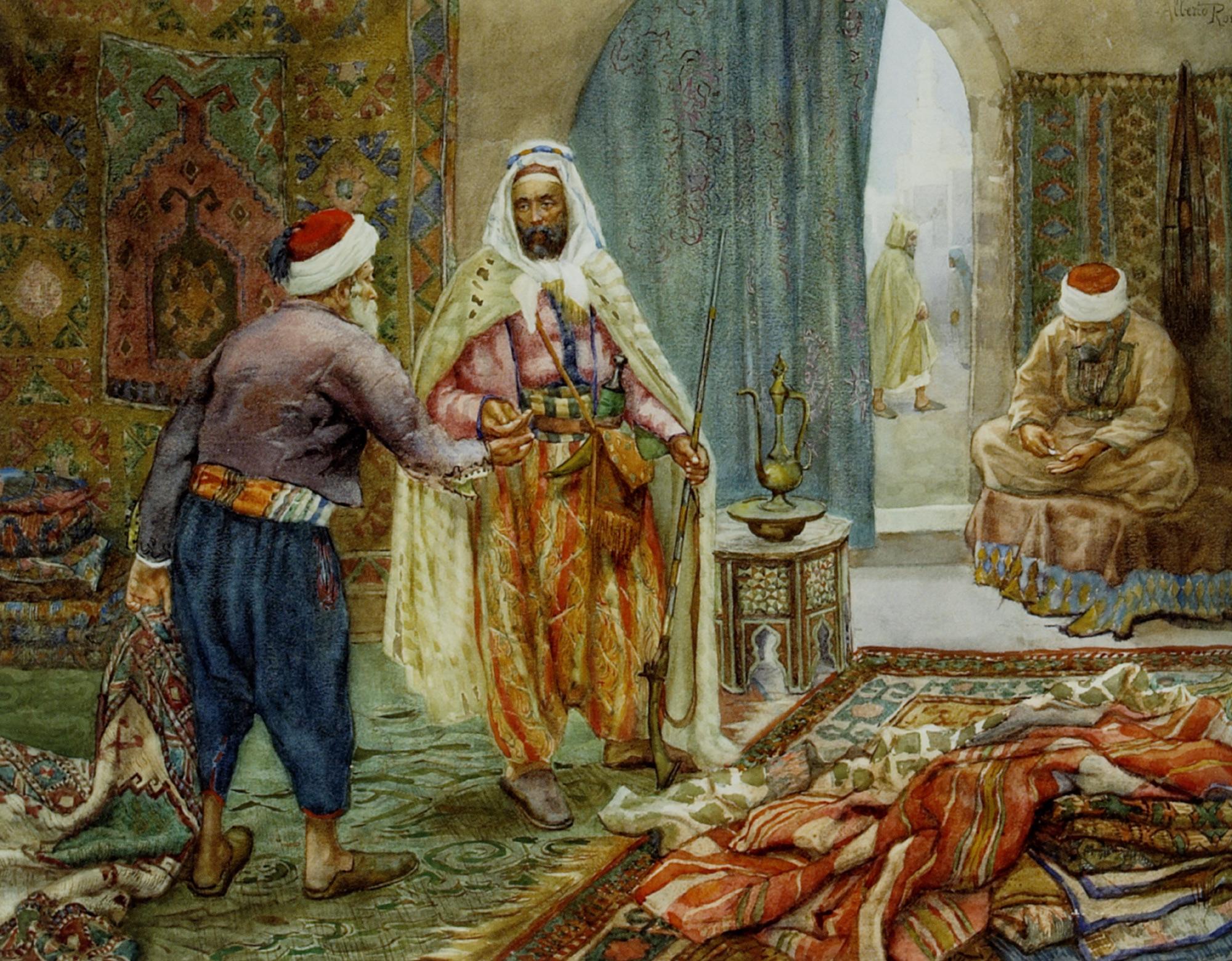 The Carpet Seller :: Alberto Rosati - scenes of Oriental life (Orientalism) in art and painting ôîòî