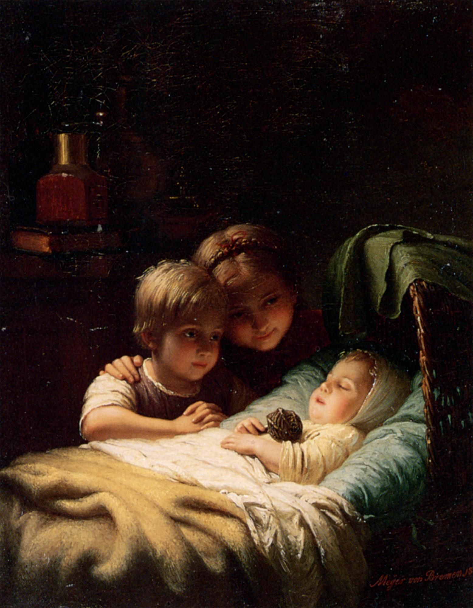 The younger brother :: Johann Georg Meyer von Bremen - Children's portrait in art and painting ôîòî