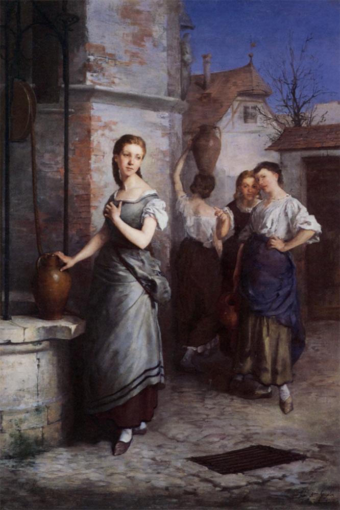 Margarita at the Fountain :: Juan Antonio Gonzalez - Romantic scenes in art and painting ôîòî