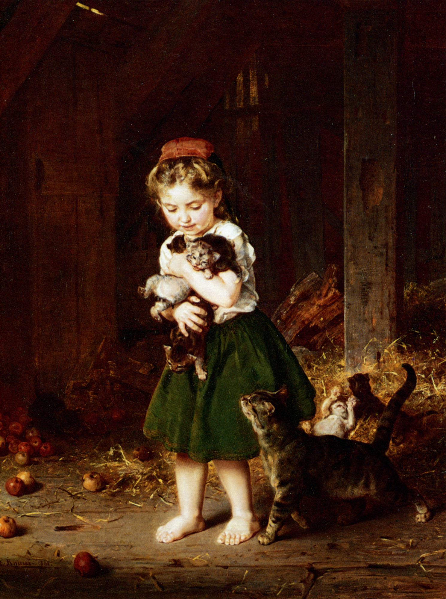A Handful of Kittens :: Ludwig Knaus  - Portraits of young girls in art and painting ôîòî