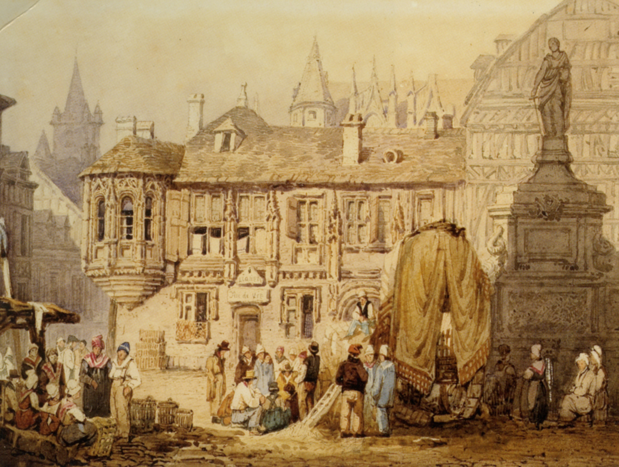 A View of La Place de la Pucelle Rouen :: Samuel Prout  - France ôîòî