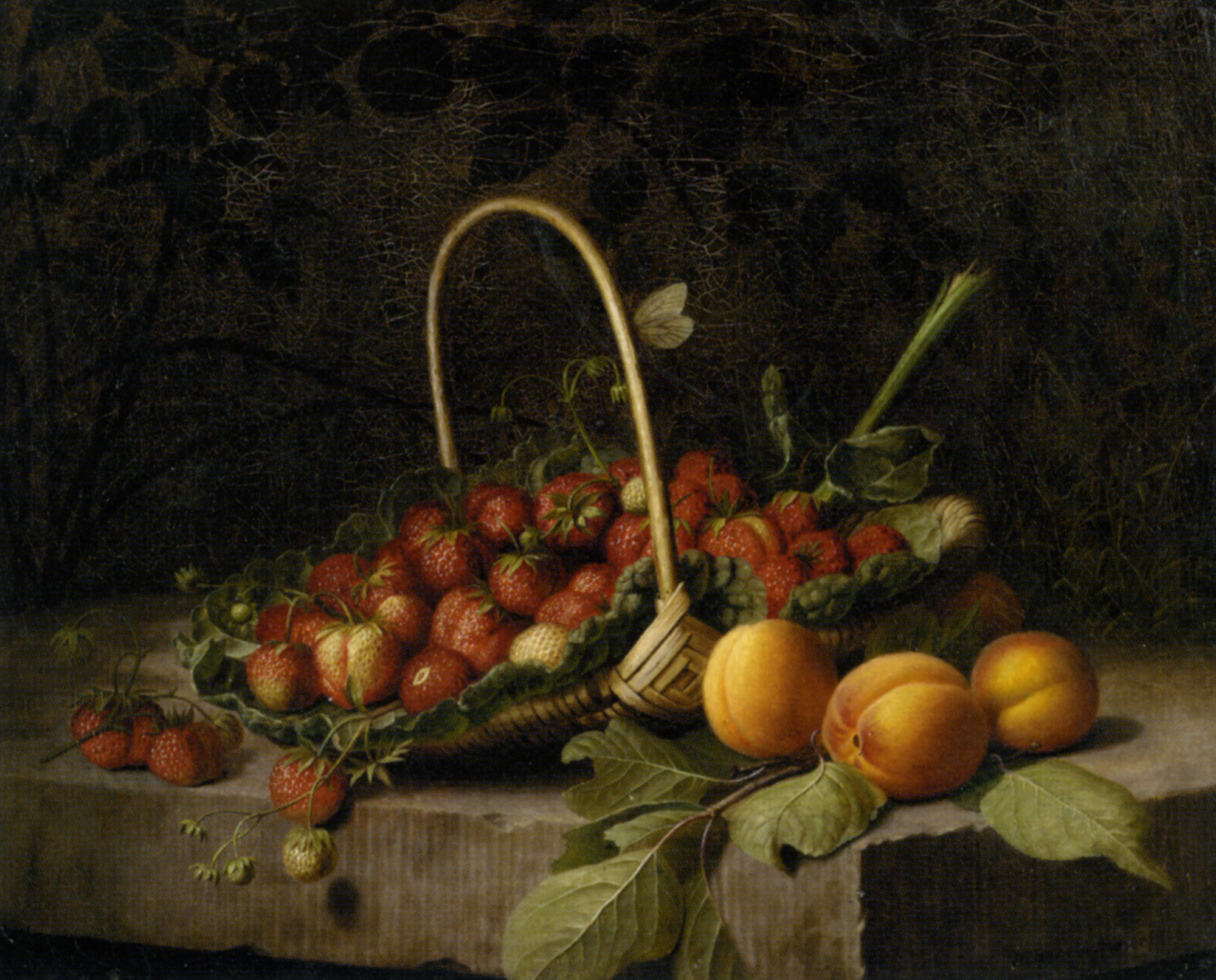 A Basket of Strawberries and Peaches :: William Hammer - Still-lives with fruit ôîòî