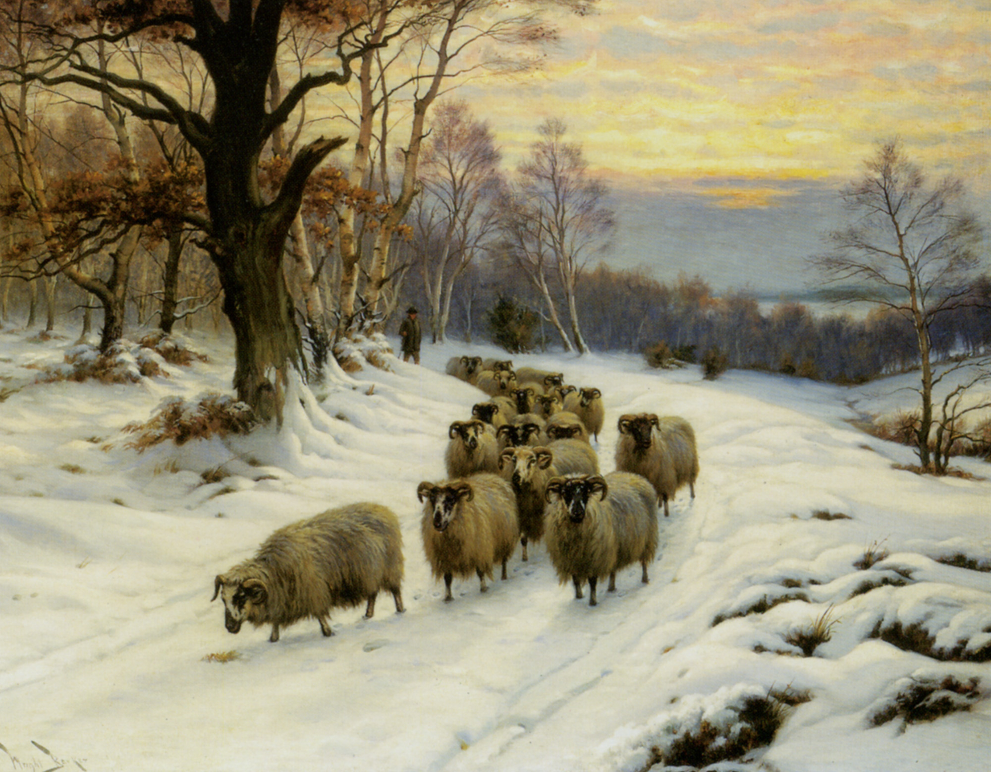 A Shepherd and his Flock on a Path in Winter :: Wright Barker - winter landscapes ôîòî
