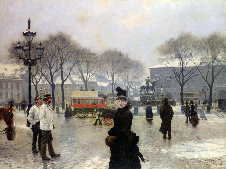 A Winter's Day on Kongens Nytorv Copenhagen :: Paul Gustave Fischer - Street and market genre scenes ôîòî