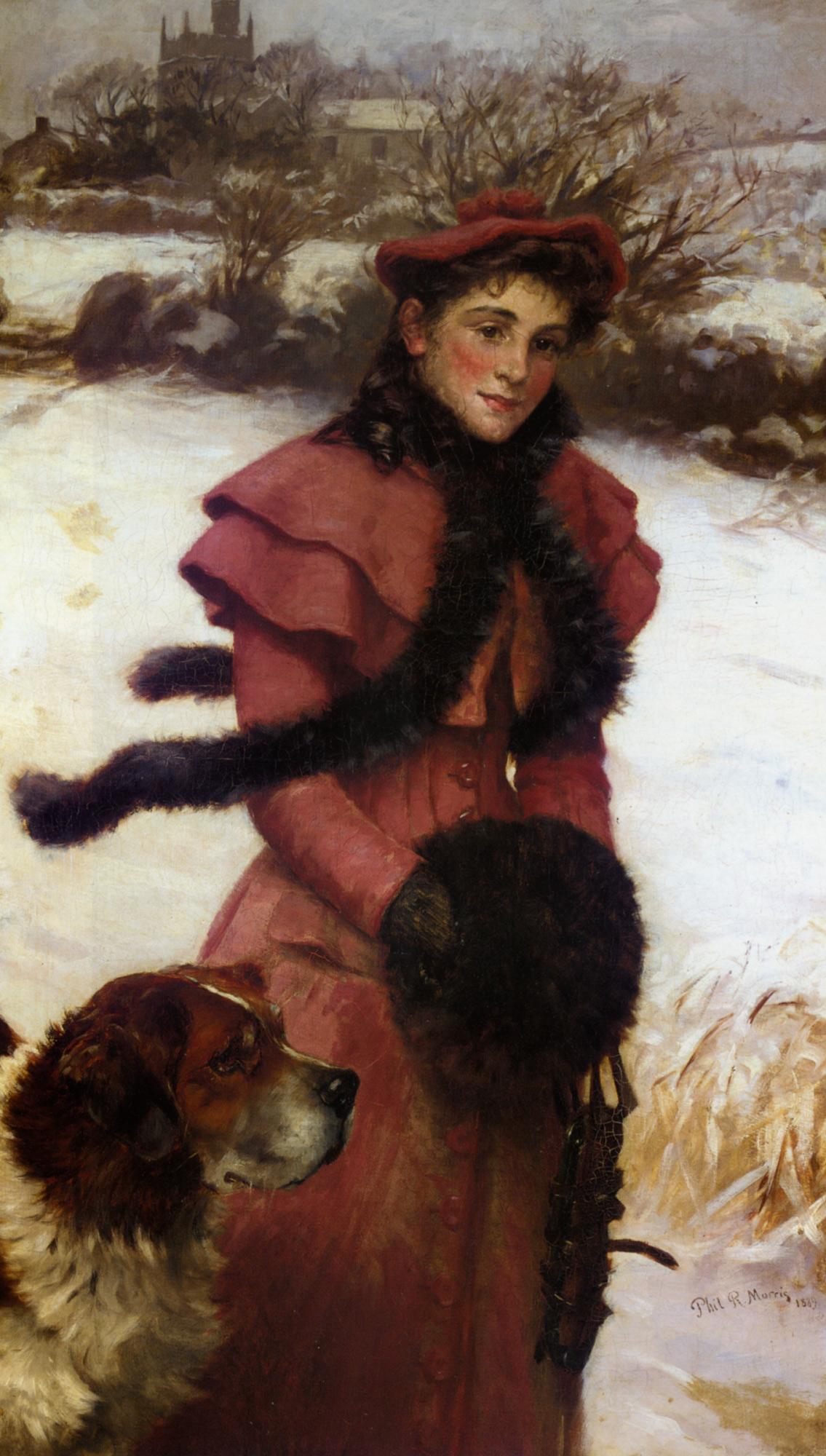 A Winter Walk :: Philip Richard Morris - 7 female portraits ( the end of 19 centuries ) in art and painting ôîòî
