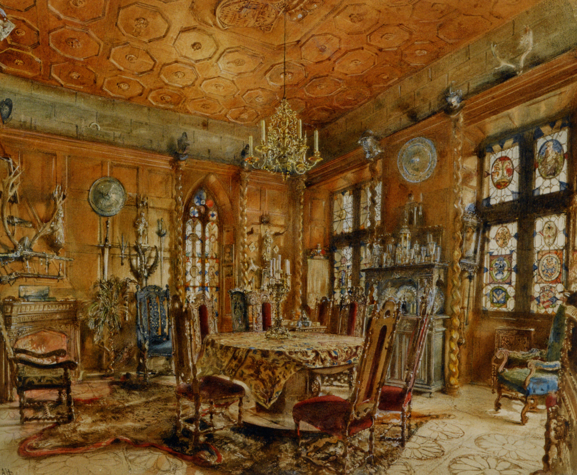 Palace interior in the Renaissance style  :: Rudolf Ritter von Alt - Rich interiors ôîòî
