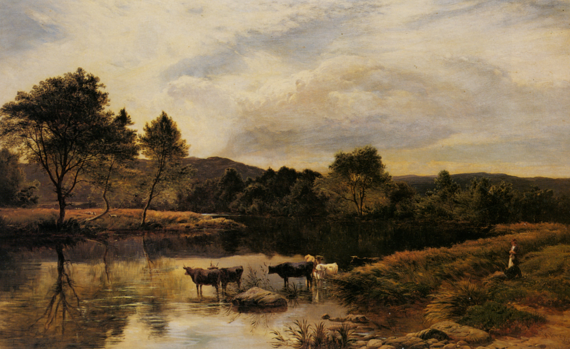 The Wye :: Sidney Richard Percy - Landscapes with cows ôîòî