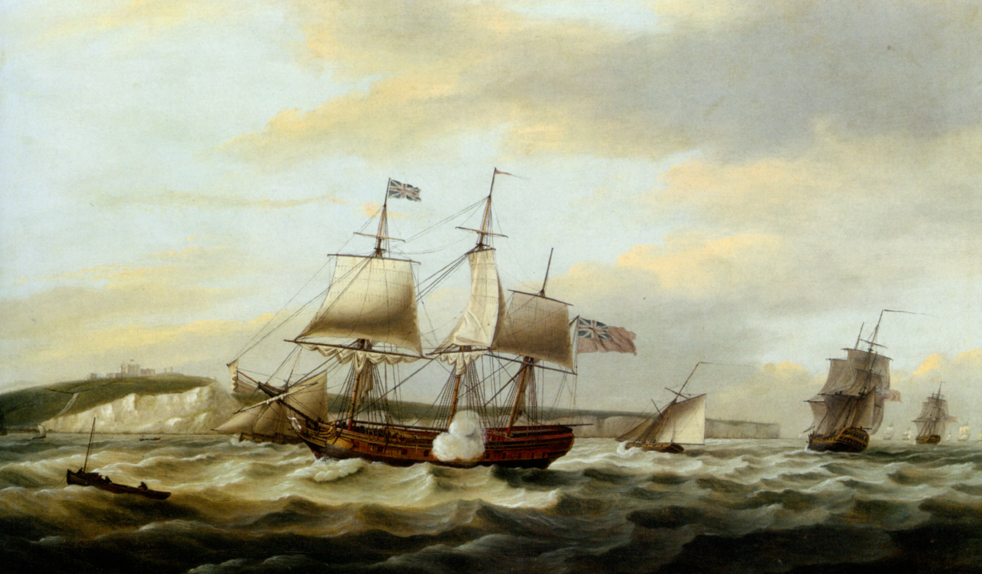 A Merchant Ship Signaling for a Pilot of the Cliffs of Dover :: Thomas Luny - Sea landscapes with ships ôîòî