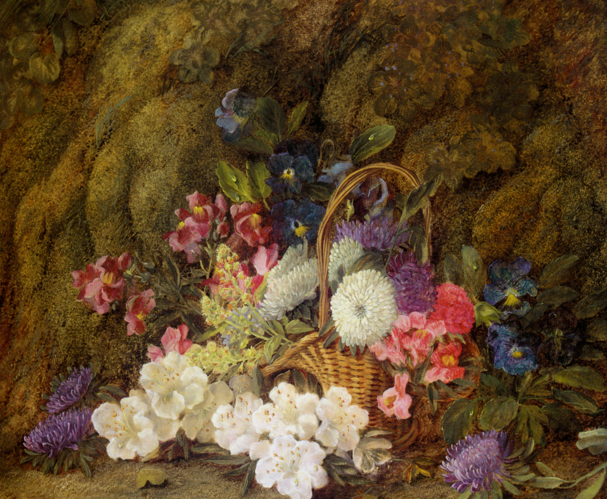 Still life with a basket of flowers :: Vincent Clare - flowers in painting ôîòî