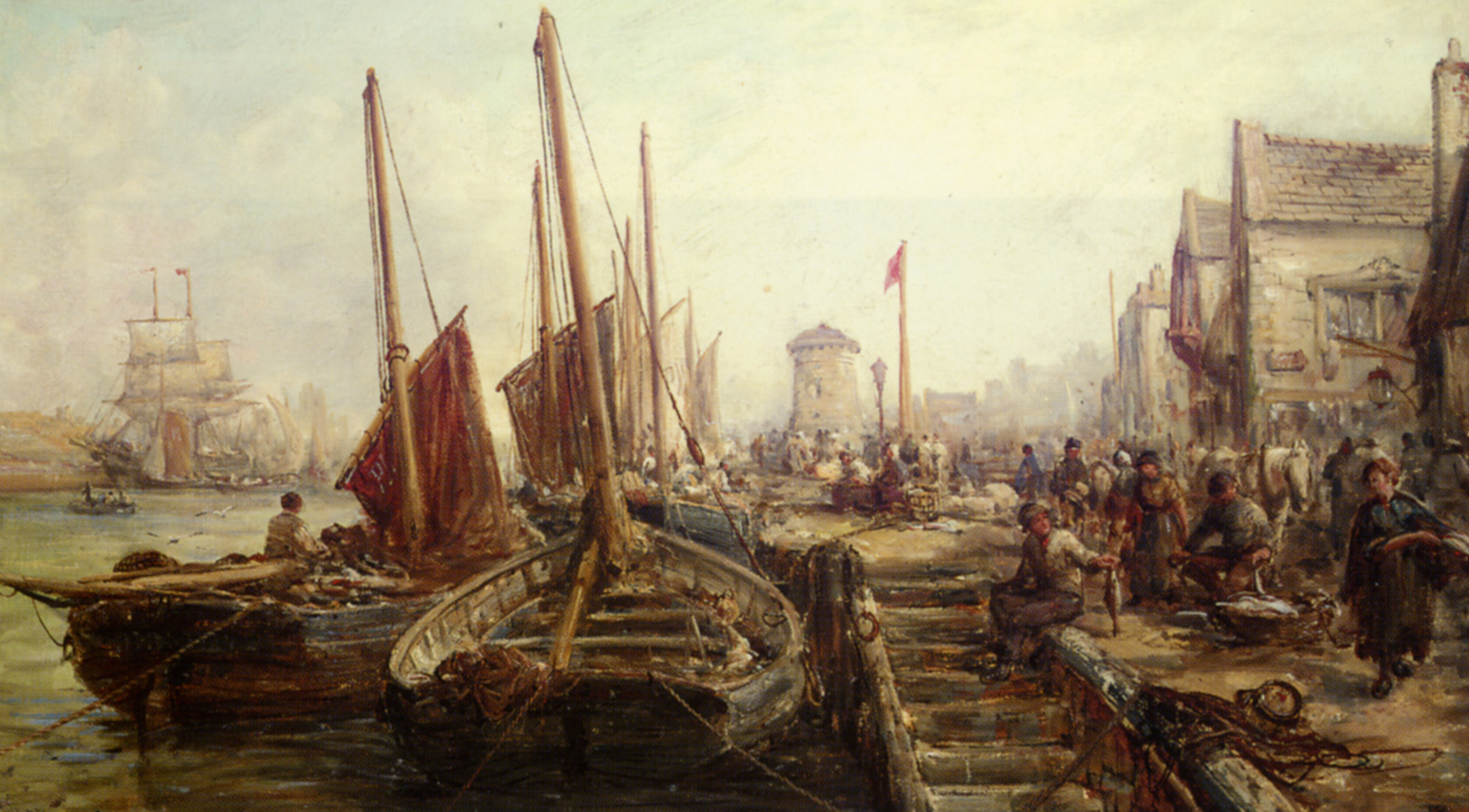 Peel Harbour Isle of Man :: William Edward Webb - Sea landscapes with boats ôîòî