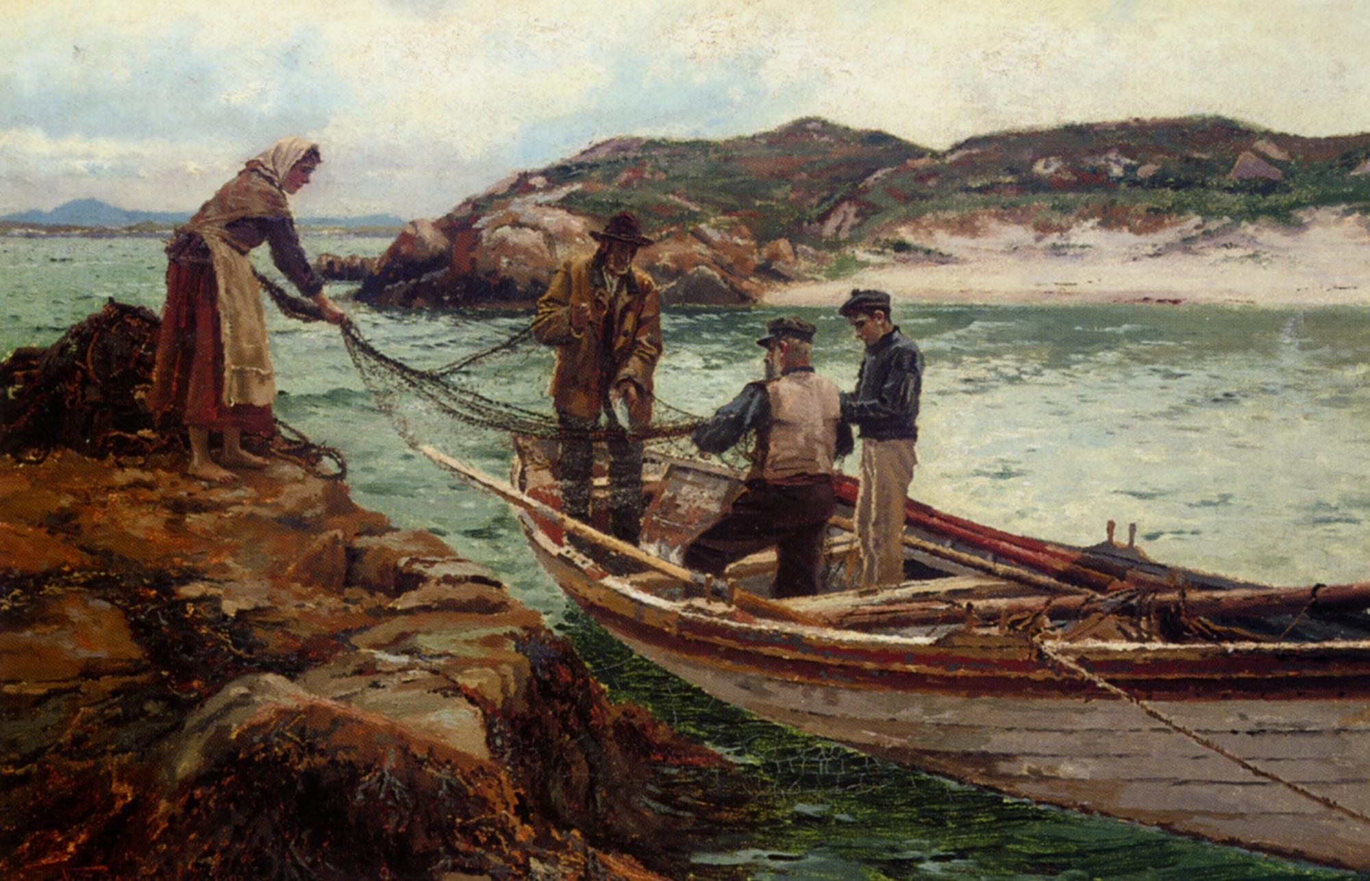 Landing The Catch :: William Henry Bartlett - Sea landscapes with boats ôîòî