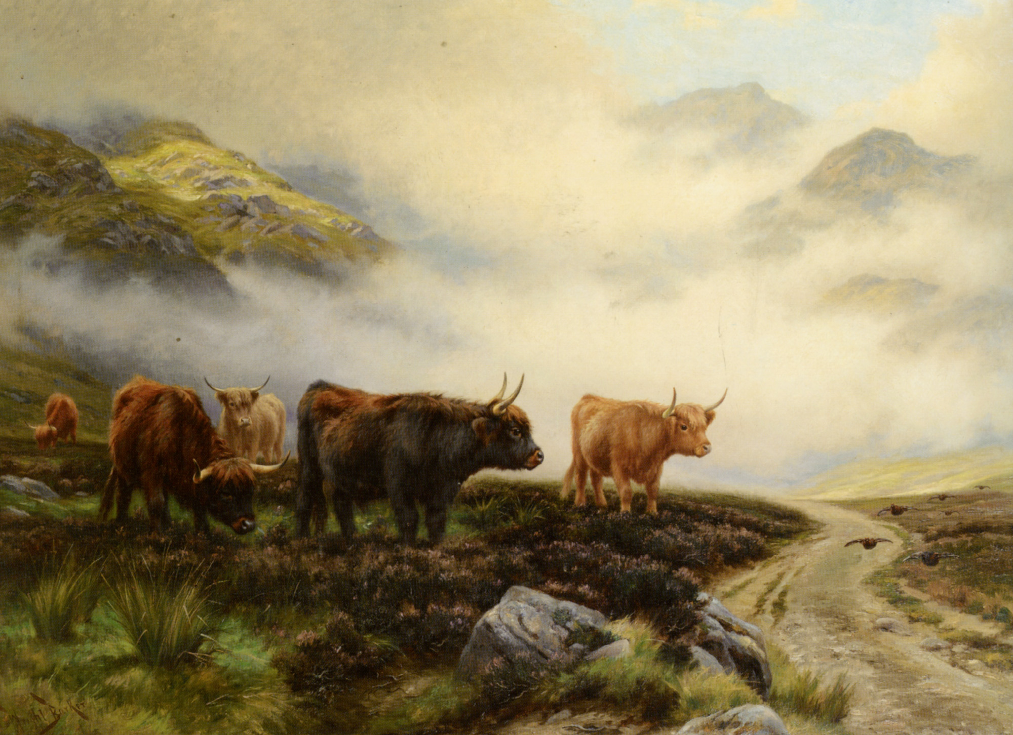 Highland Cattle in a Pass :: Wright Barker - Mountain scenery ôîòî