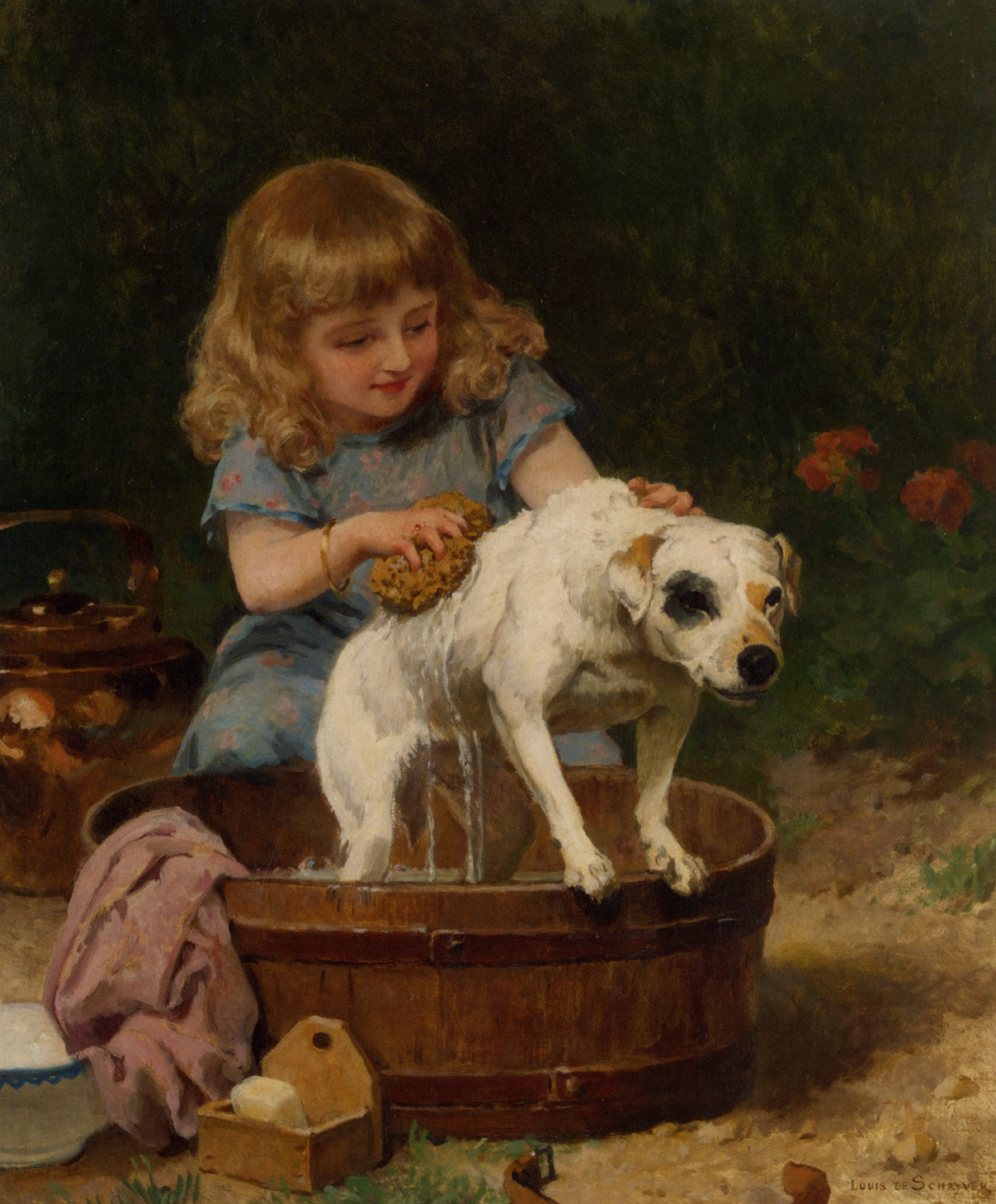 Bath Day  :: Louis Marie de Schryver - Portraits of young girls in art and painting ôîòî