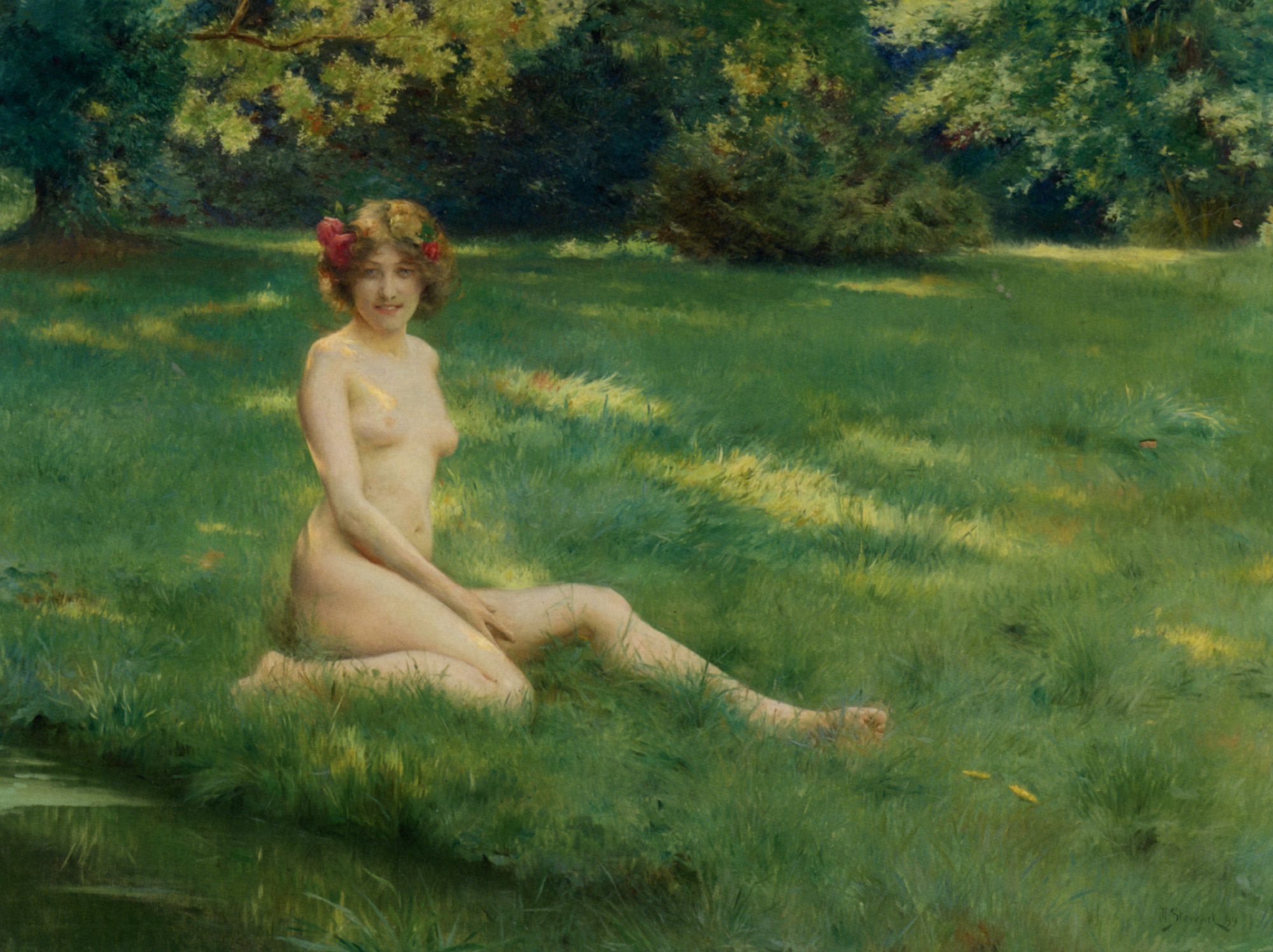 A naked on the lawn :: Julius LeBlanc Stewart - Nu in art and painting ôîòî