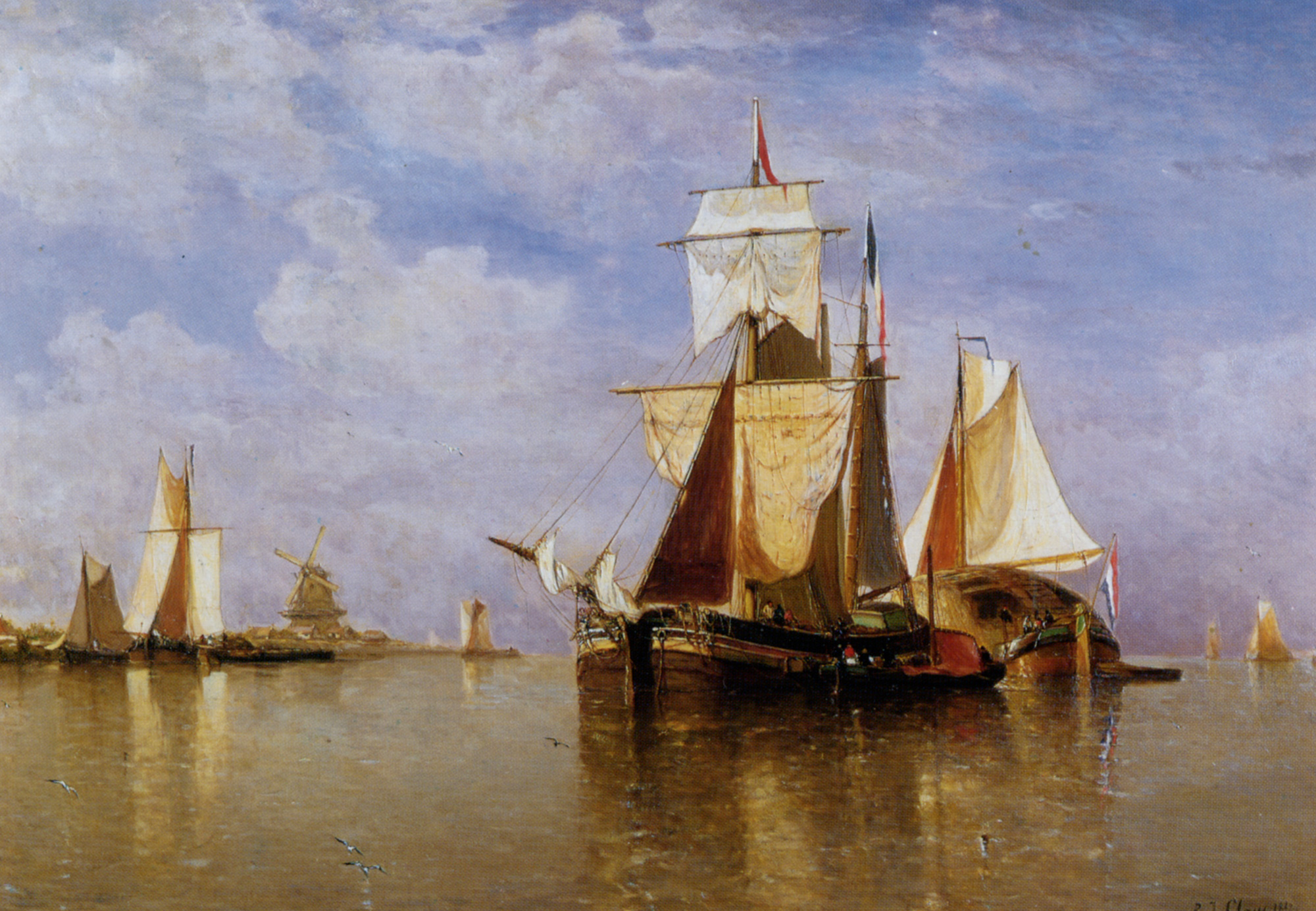 Shipping off the Dutch Coast :: Paul-Jean Clays - Sea landscapes with ships ôîòî