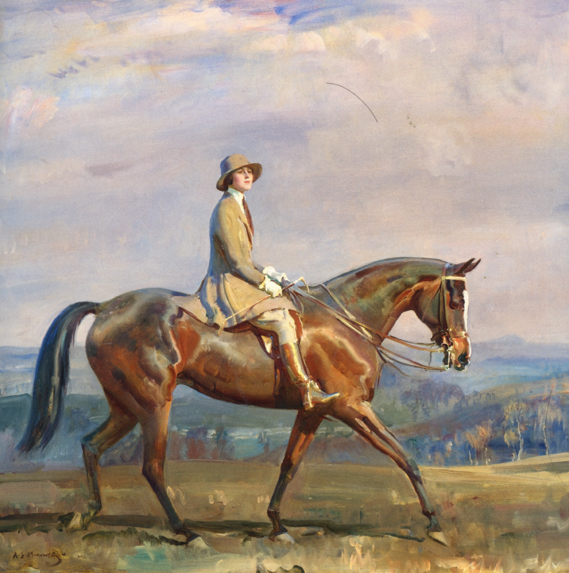 Portrait of Mrs Margaretta Park Frew Riding :: Sir Alfred James Munnings - Horses in art ôîòî