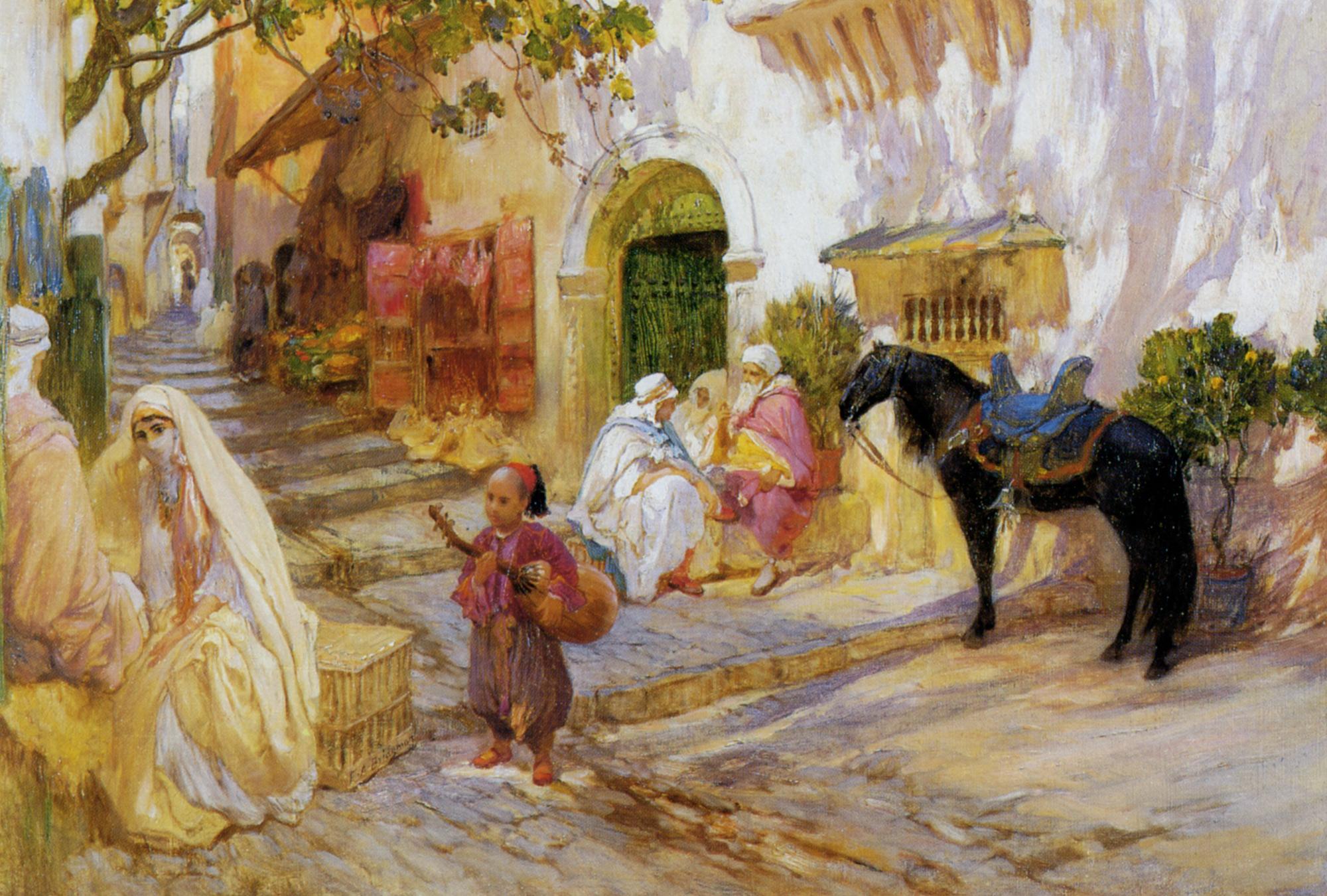 An Algerian Street :: Frederick Arthur Bridgman - scenes of Oriental life (Orientalism) in art and painting ôîòî